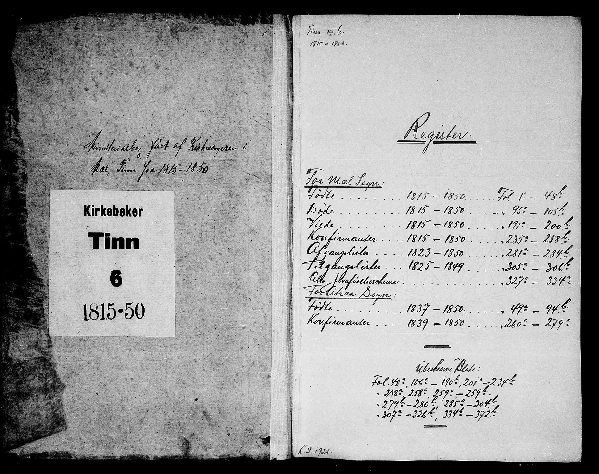 SAKO, Tinn kirkebøker, G/Gb/L0001: Klokkerbok nr. II 1 /1, 1815-1850