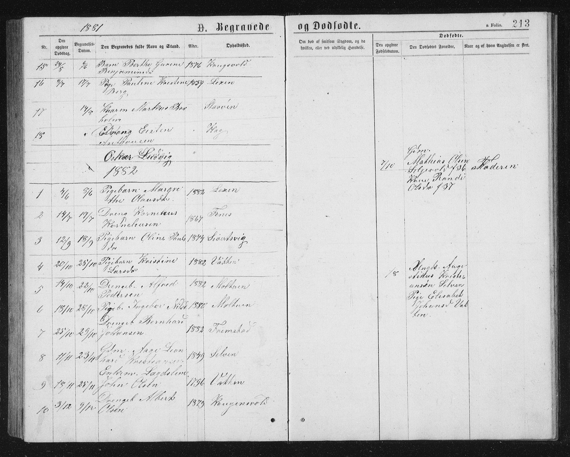 SAT, Ministerialprotokoller, klokkerbøker og fødselsregistre - Sør-Trøndelag, 662/L0756: Klokkerbok nr. 662C01, 1869-1891, s. 213