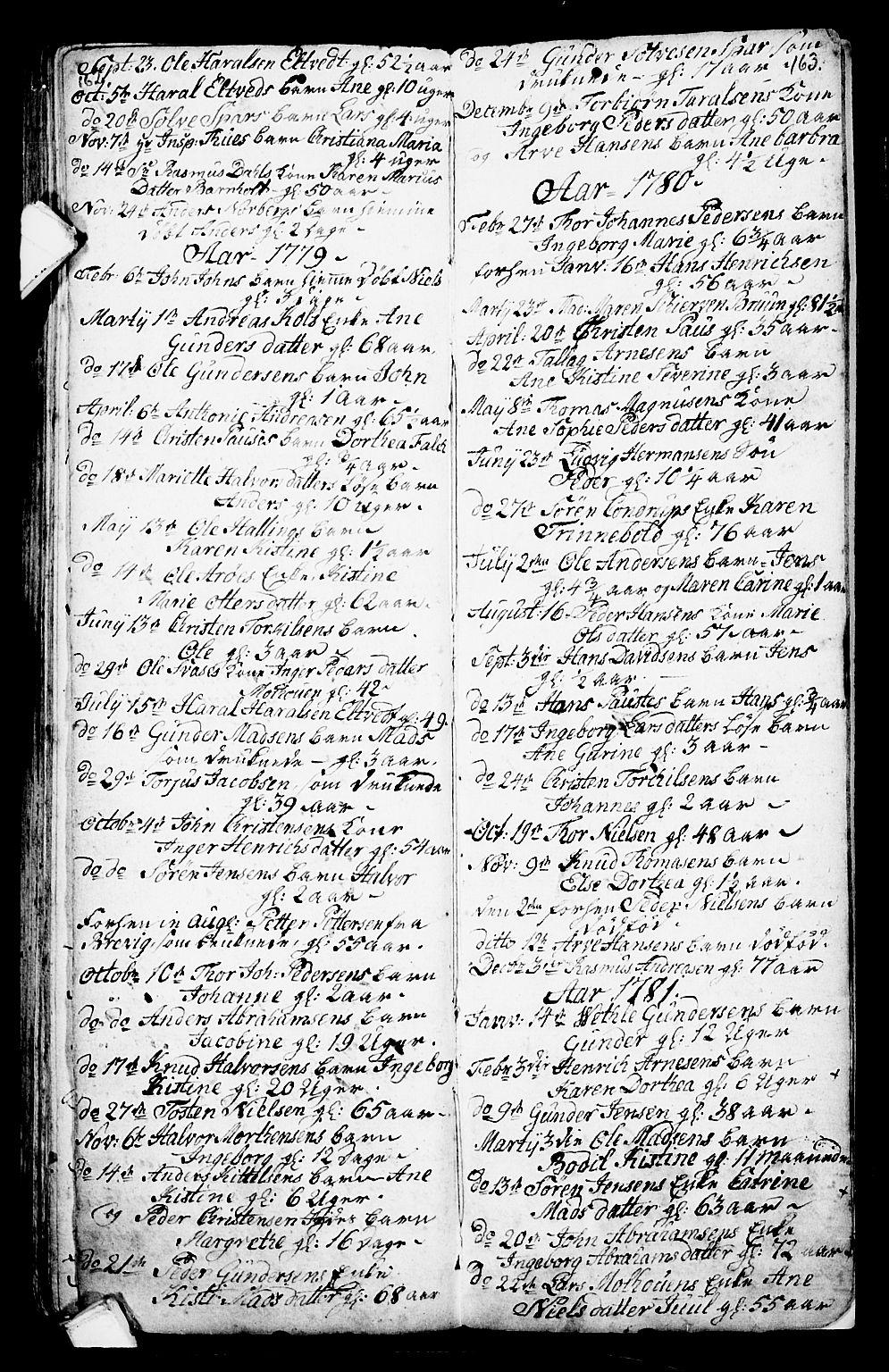 SAKO, Porsgrunn kirkebøker , G/Ga/L0001: Klokkerbok nr. I 1, 1766-1790, s. 162-163