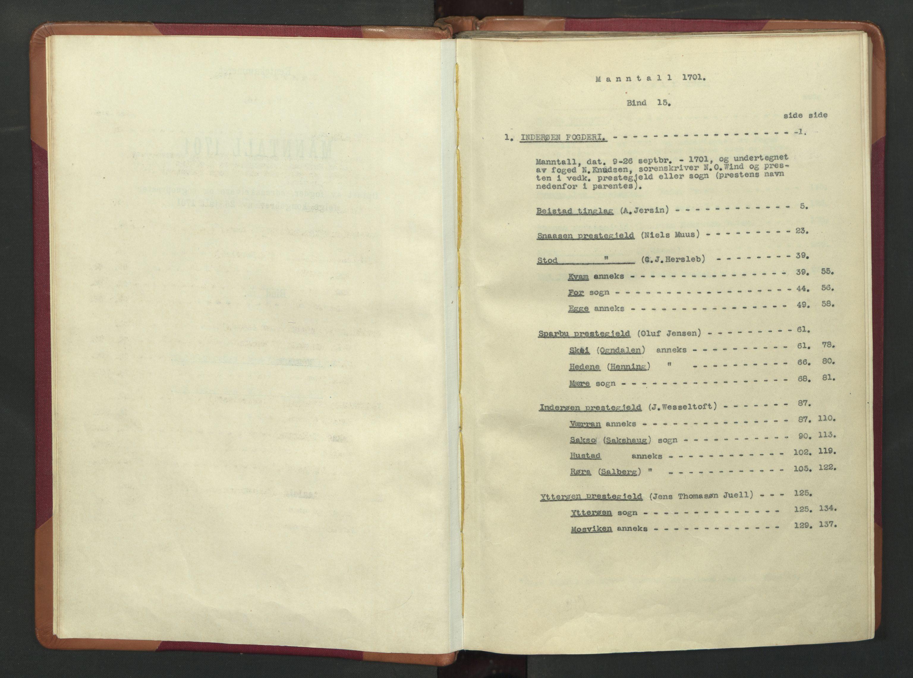 RA, Manntallet 1701, nr. 15: Inderøy fogderi og Namdal fogderi, 1701, s. upaginert