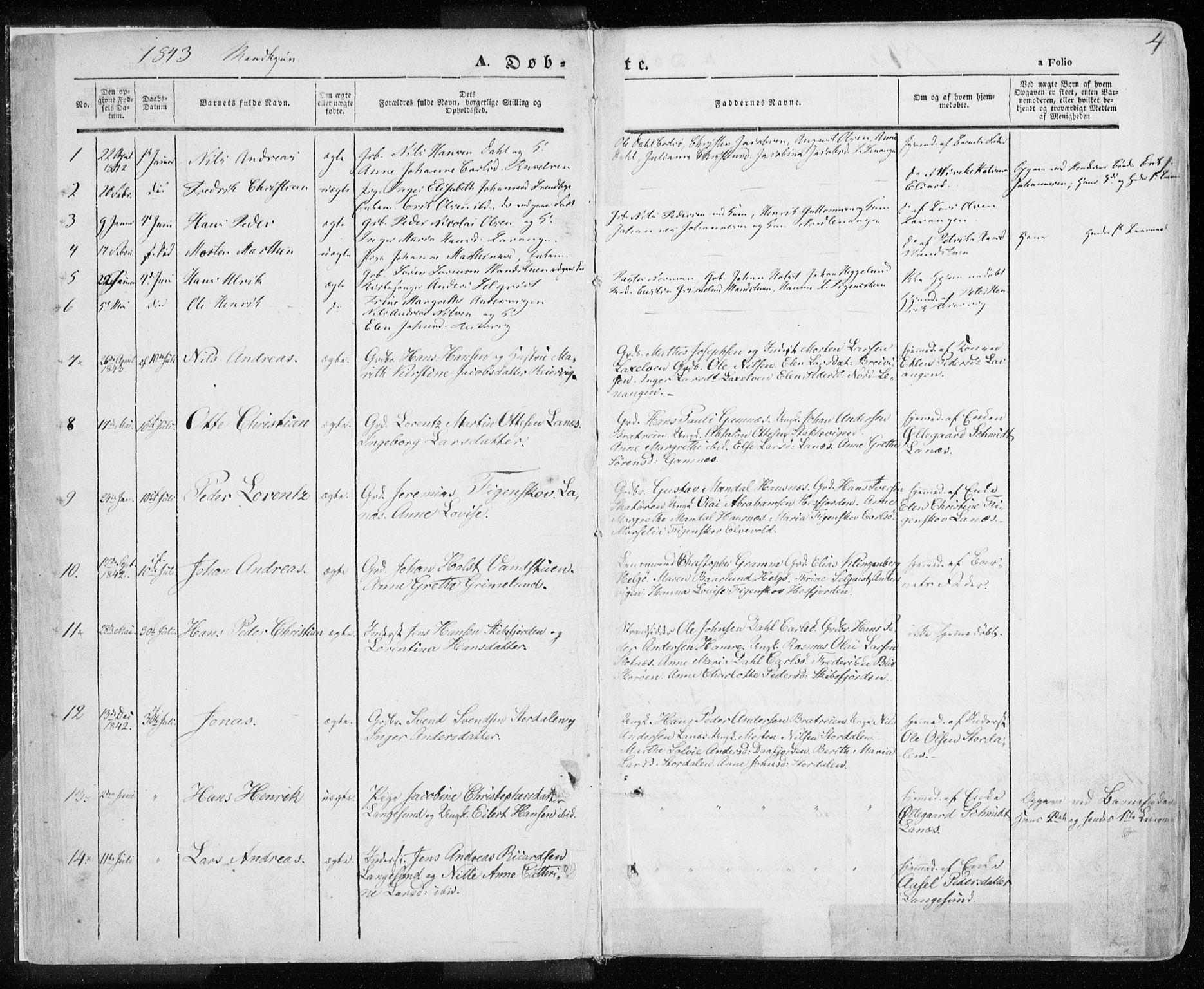 SATØ, Karlsøy sokneprestembete, Ministerialbok nr. 3, 1843-1860, s. 4