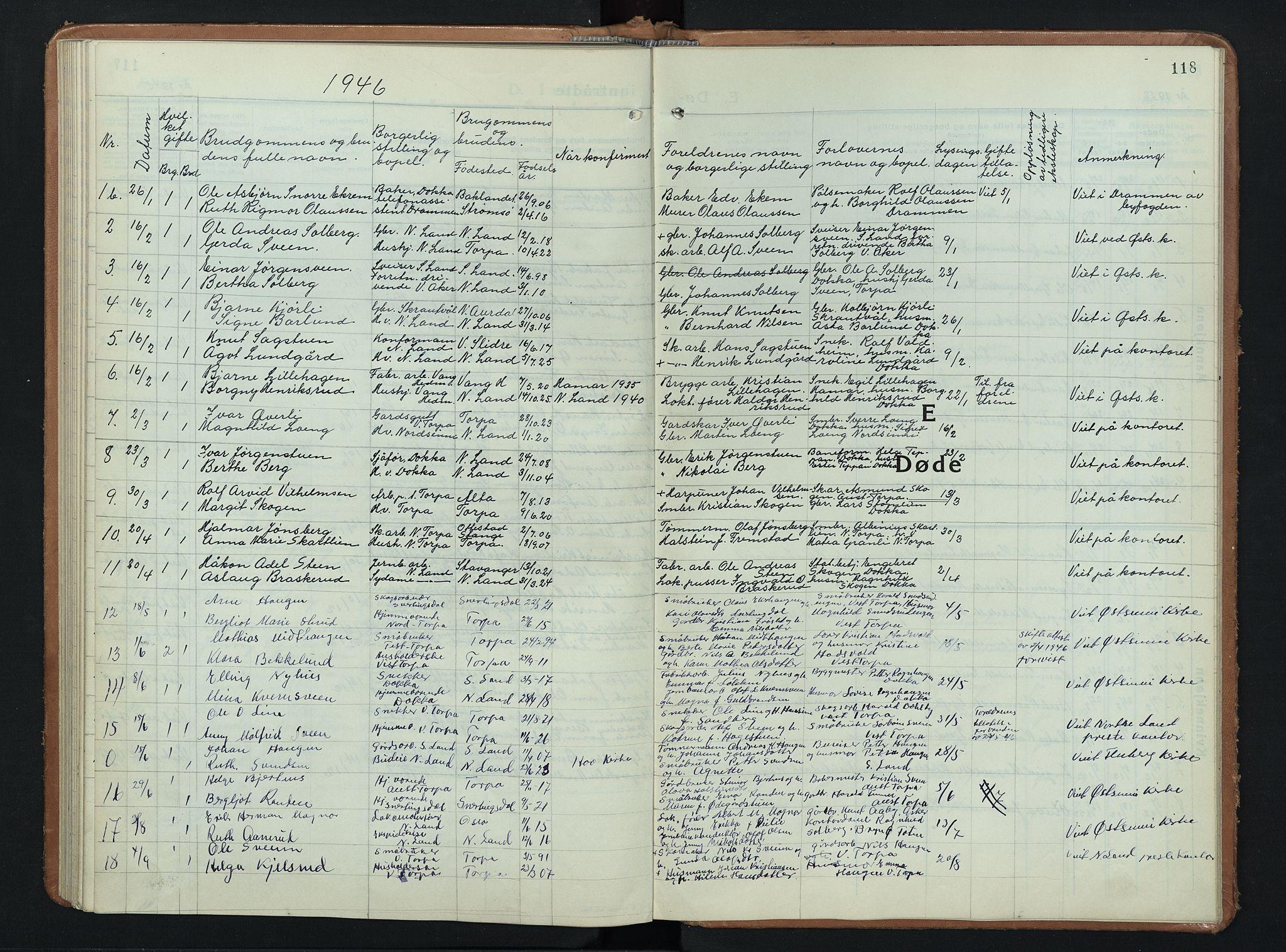 SAH, Nordre Land prestekontor, Klokkerbok nr. 3, 1932-1946, s. 118