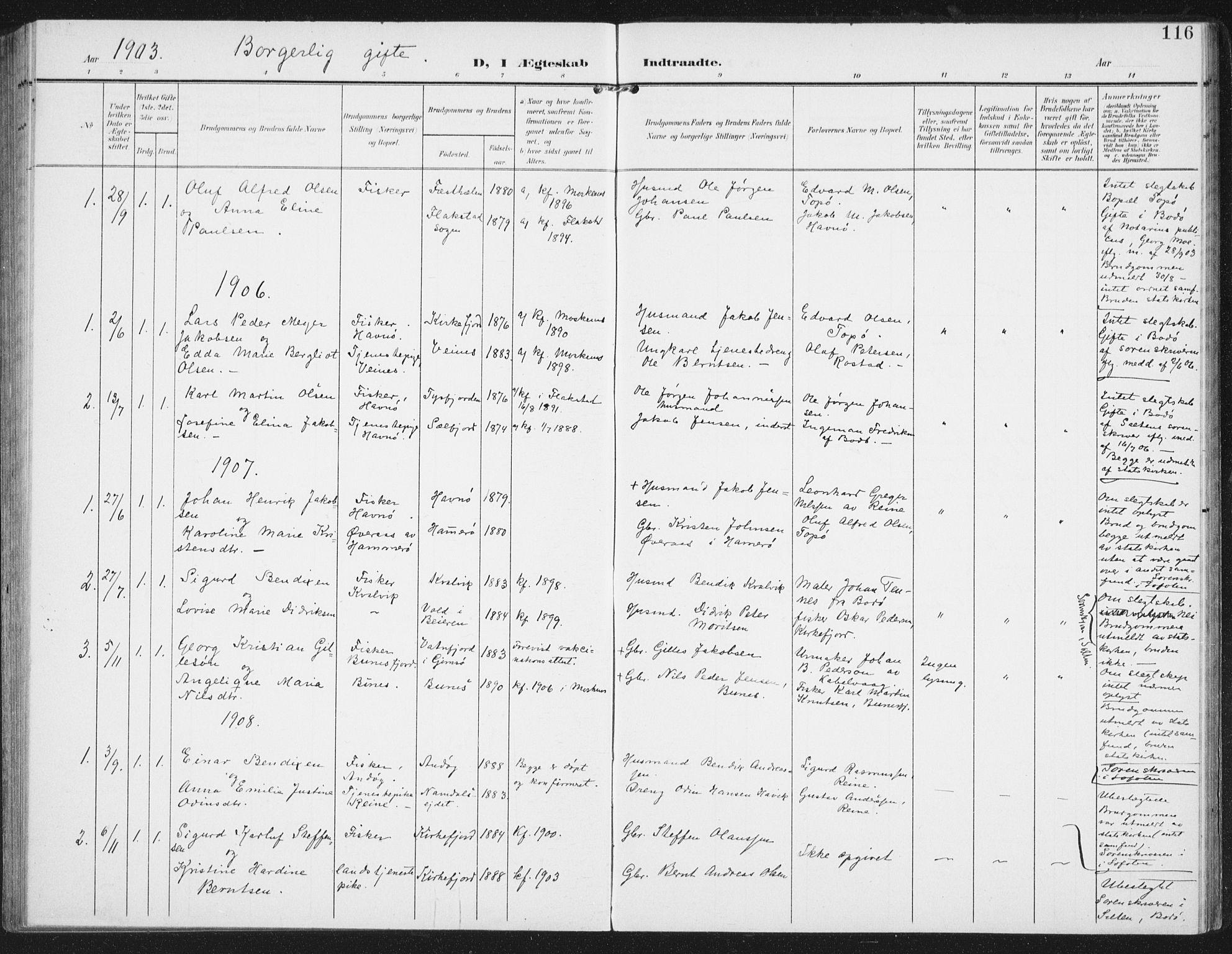SAT, Ministerialprotokoller, klokkerbøker og fødselsregistre - Nordland, 886/L1221: Ministerialbok nr. 886A03, 1903-1913, s. 116