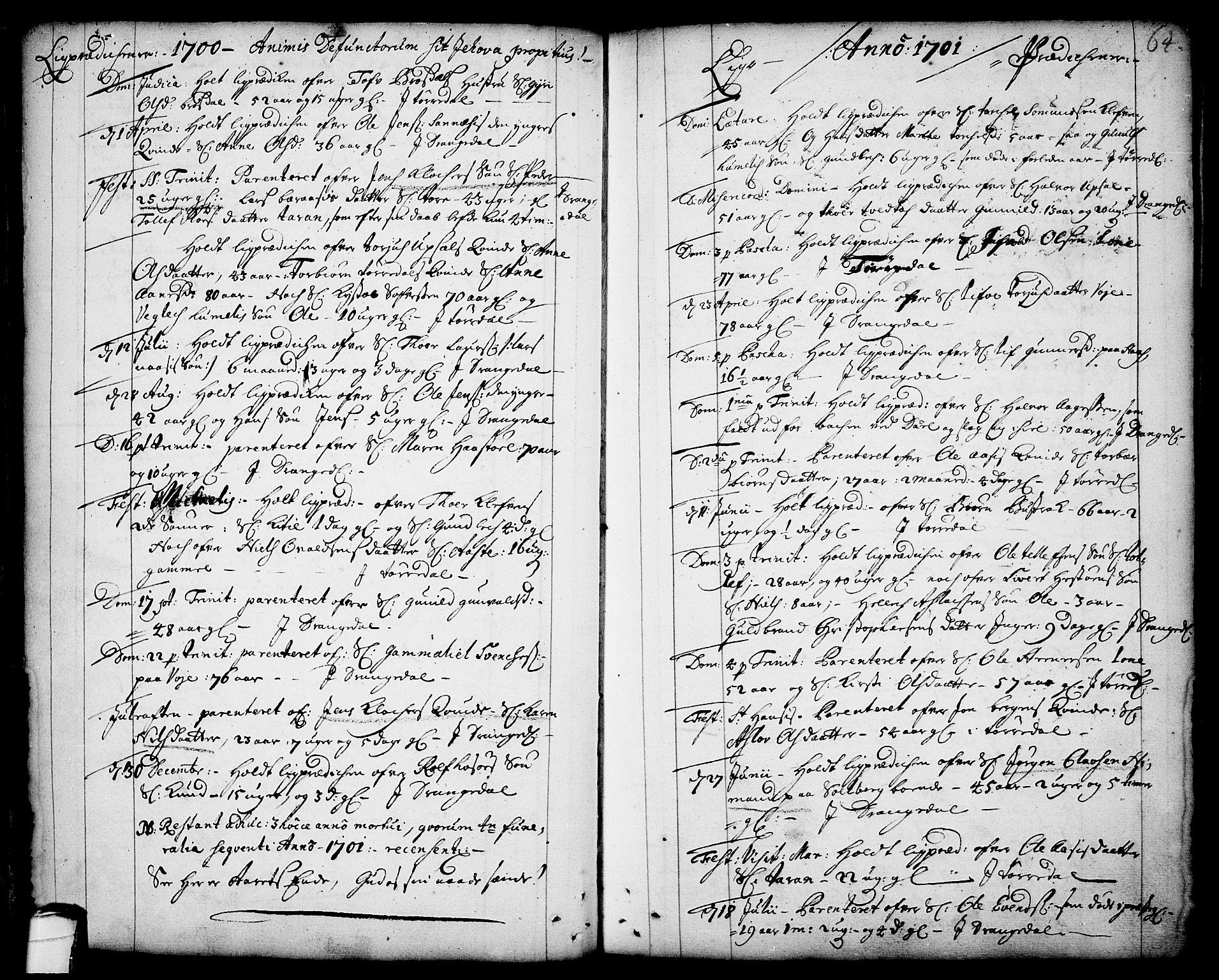SAKO, Drangedal kirkebøker, F/Fa/L0001: Ministerialbok nr. 1, 1697-1767, s. 64
