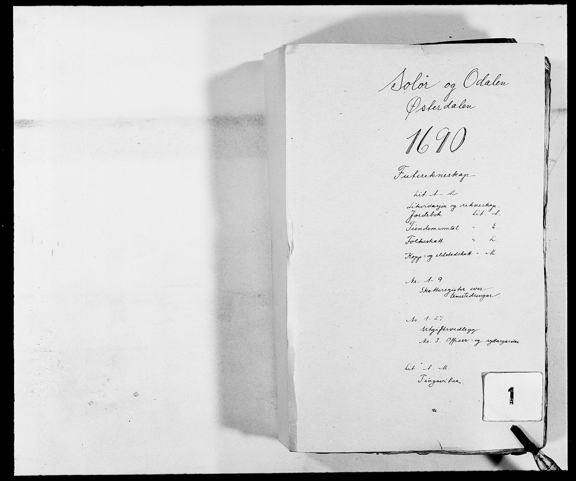 RA, Rentekammeret inntil 1814, Reviderte regnskaper, Fogderegnskap, R13/L0828: Fogderegnskap Solør, Odal og Østerdal, 1690, s. 1