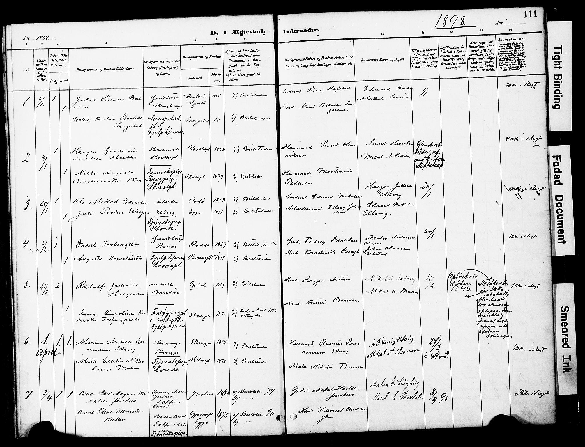 SAT, Ministerialprotokoller, klokkerbøker og fødselsregistre - Nord-Trøndelag, 741/L0396: Ministerialbok nr. 741A10, 1889-1901, s. 111