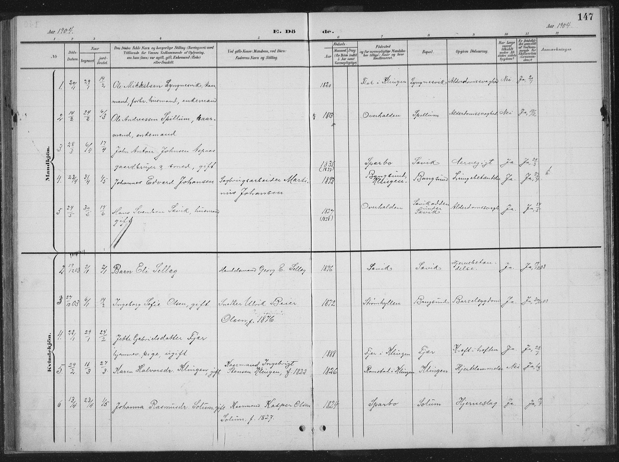 SAT, Ministerialprotokoller, klokkerbøker og fødselsregistre - Nord-Trøndelag, 770/L0591: Klokkerbok nr. 770C02, 1902-1940, s. 147