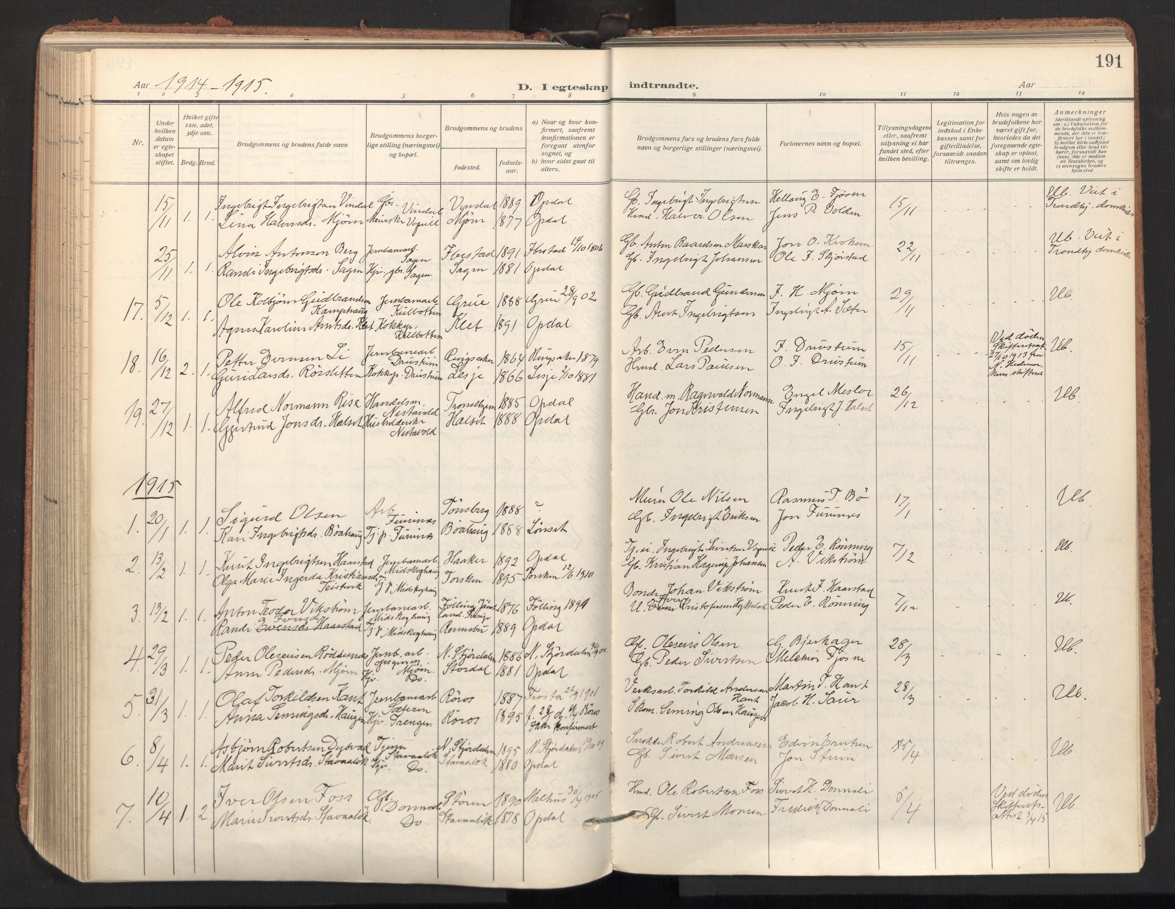 SAT, Ministerialprotokoller, klokkerbøker og fødselsregistre - Sør-Trøndelag, 678/L0909: Ministerialbok nr. 678A17, 1912-1930, s. 191