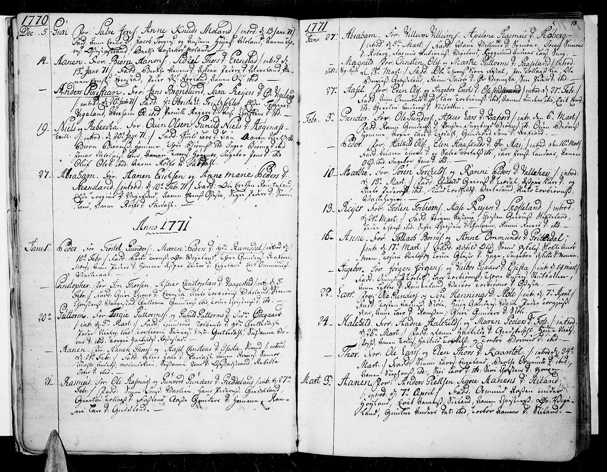 SAK, Sør-Audnedal sokneprestkontor, F/Fa/Fab/L0002: Ministerialbok nr. A 2 /1, 1766-1815, s. 13