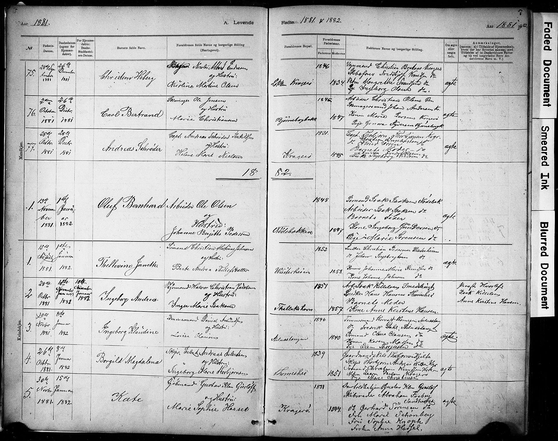 SAKO, Kragerø kirkebøker, G/Ga/L0007: Klokkerbok nr. 7, 1881-1927, s. 7
