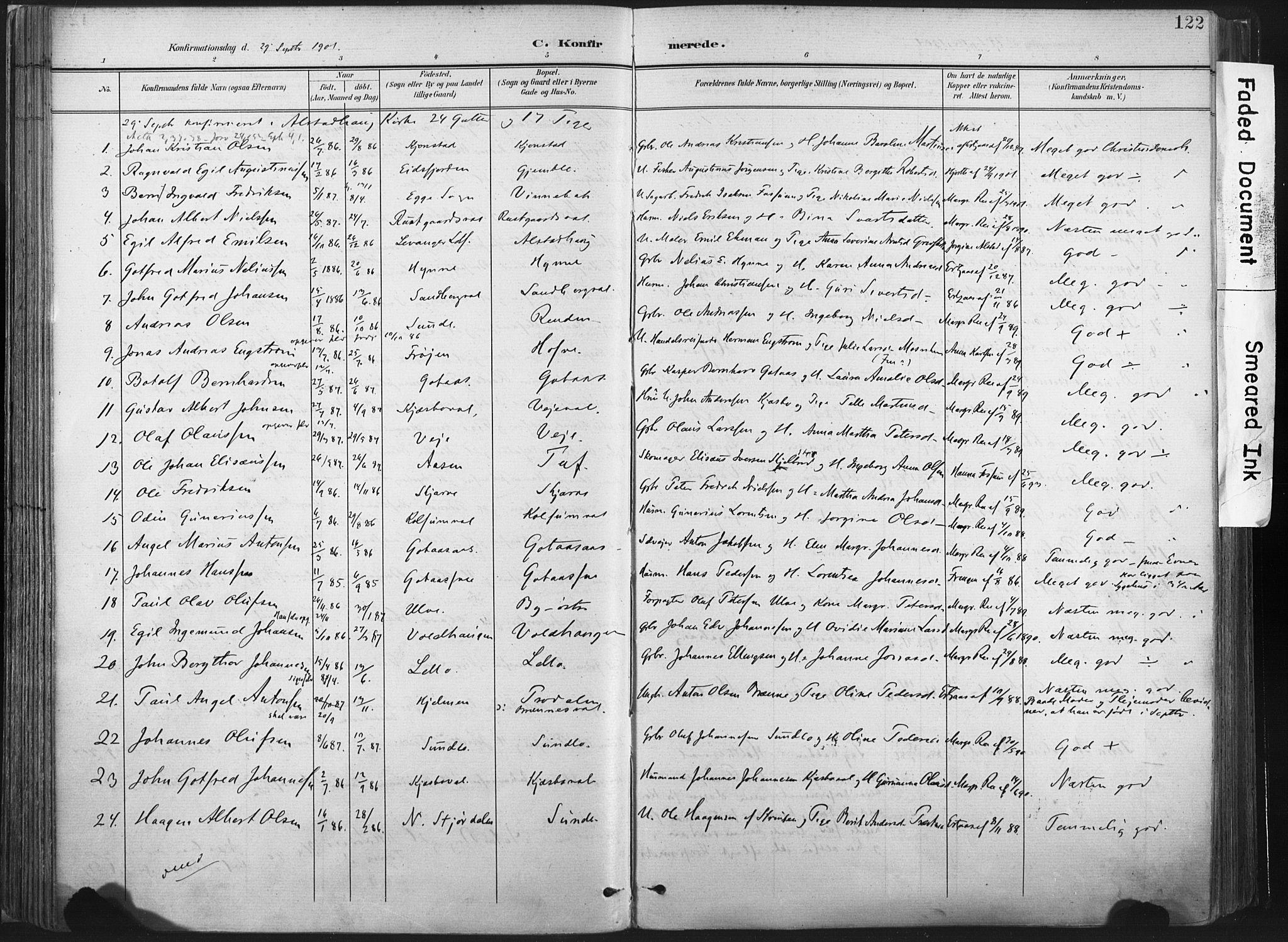 SAT, Ministerialprotokoller, klokkerbøker og fødselsregistre - Nord-Trøndelag, 717/L0162: Ministerialbok nr. 717A12, 1898-1923, s. 122