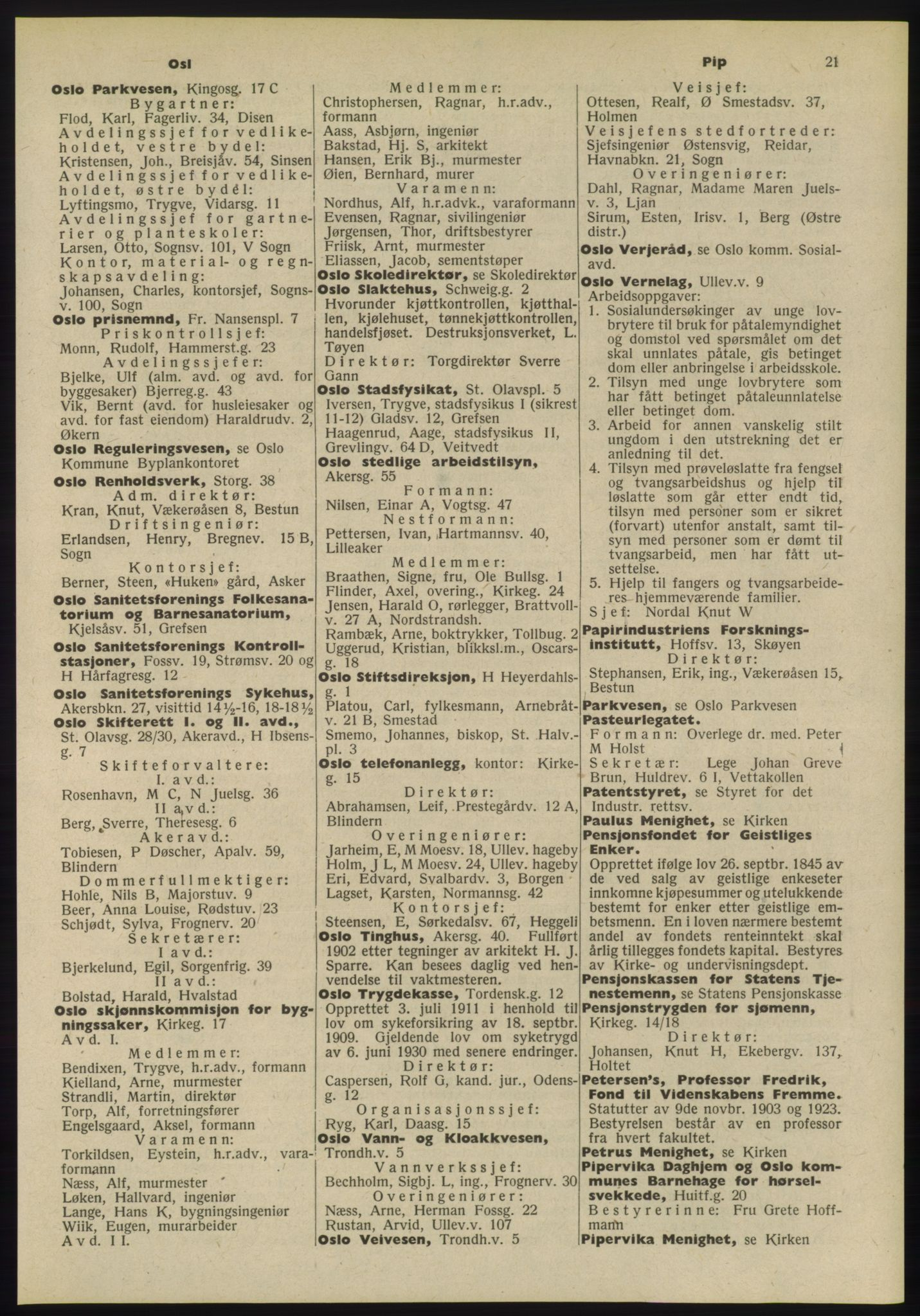 RA, Oslo adressebok (publikasjon)*, 1955, s. 21