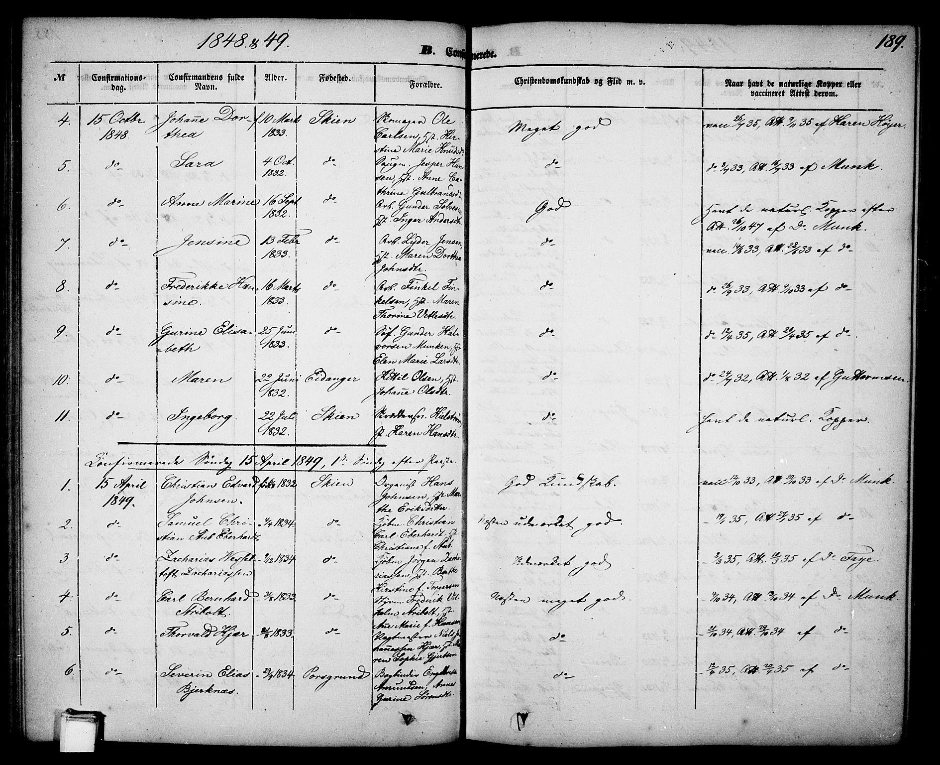 SAKO, Skien kirkebøker, G/Ga/L0004: Klokkerbok nr. 4, 1843-1867, s. 189