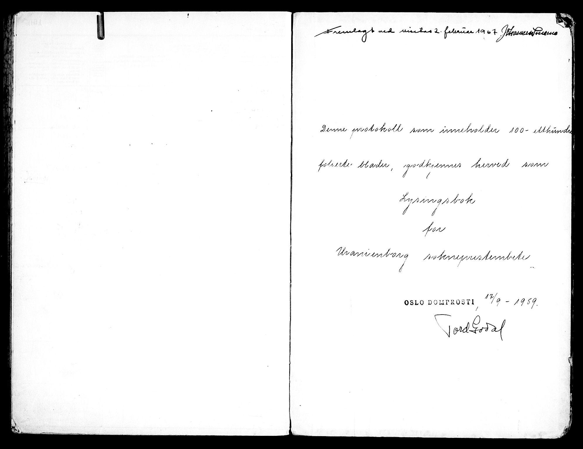 SAO, Uranienborg prestekontor Kirkebøker, H/Hb/L0003: Lysningsprotokoll nr. II 3, 1959-1963
