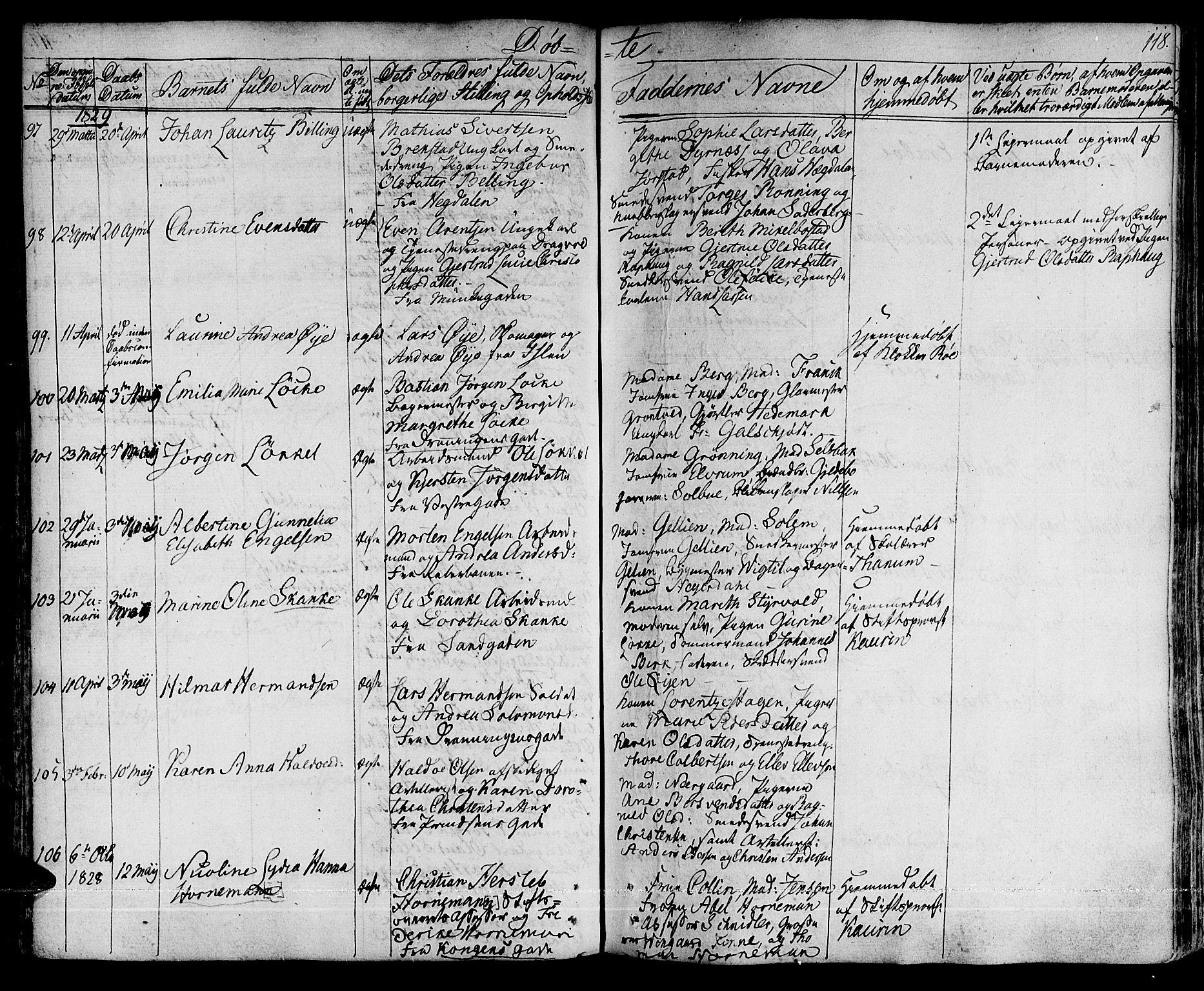 SAT, Ministerialprotokoller, klokkerbøker og fødselsregistre - Sør-Trøndelag, 601/L0045: Ministerialbok nr. 601A13, 1821-1831, s. 118