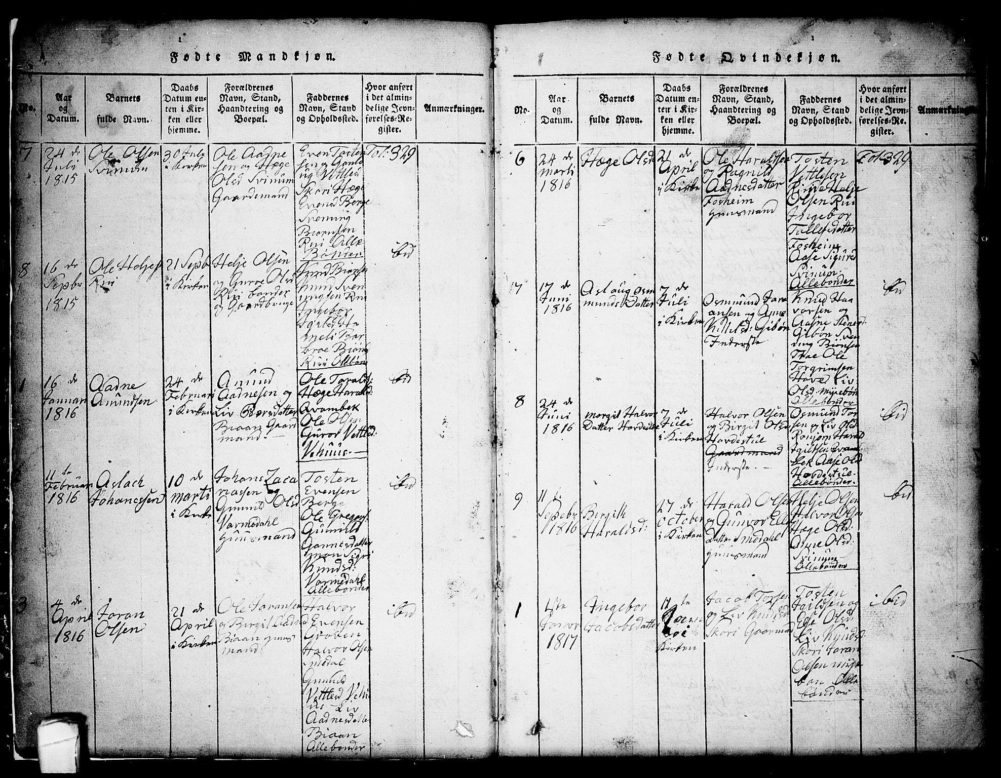 SAKO, Seljord kirkebøker, G/Gc/L0001: Klokkerbok nr. III 1, 1815-1849, s. 3