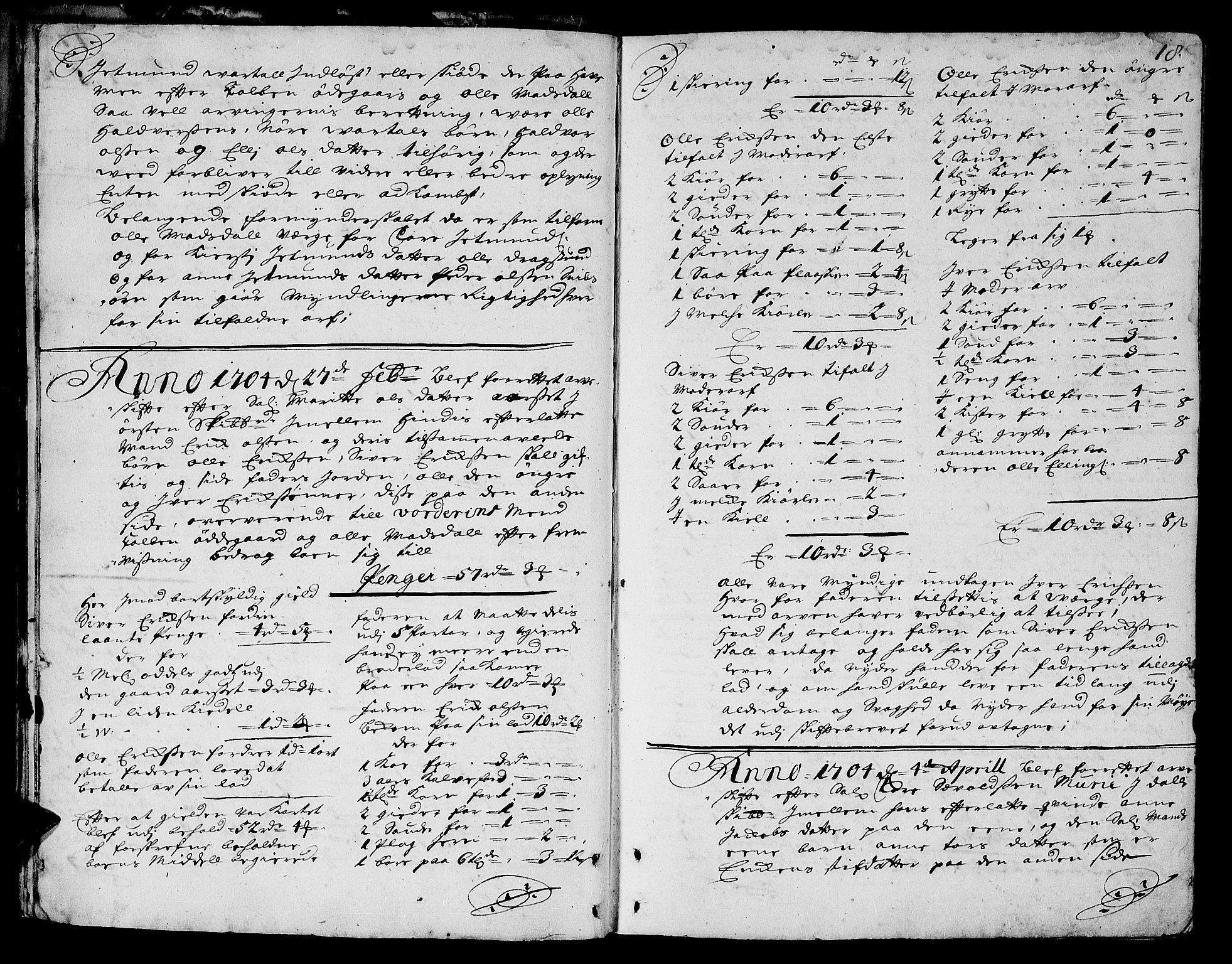 SAT, Sunnmøre sorenskriveri, 3/3A/L0002: Skifteprotokoll 02A, 1703-1707, s. 17b-18a