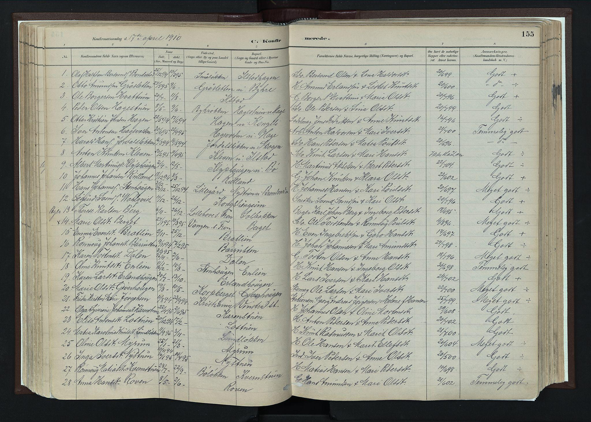 SAH, Nord-Fron prestekontor, Ministerialbok nr. 4, 1884-1914, s. 155