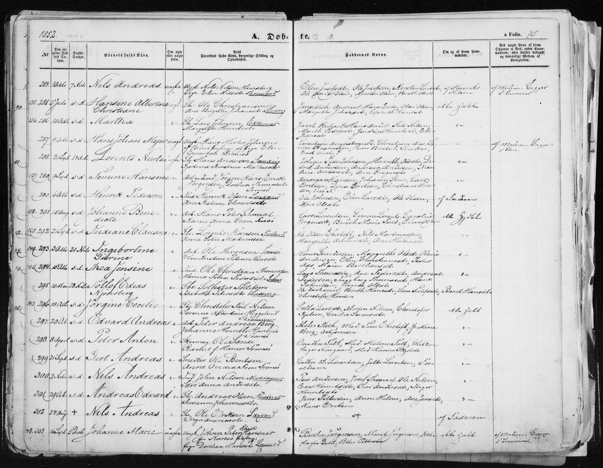 SATØ, Tromsø sokneprestkontor/stiftsprosti/domprosti, G/Ga/L0010kirke: Ministerialbok nr. 10, 1848-1855, s. 75