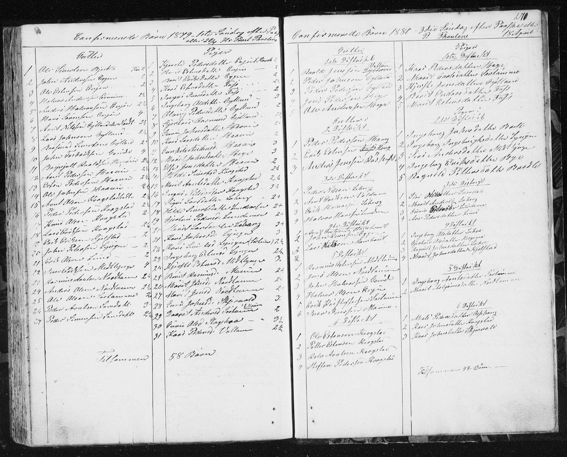 SAT, Ministerialprotokoller, klokkerbøker og fødselsregistre - Sør-Trøndelag, 692/L1110: Klokkerbok nr. 692C05, 1849-1889, s. 270
