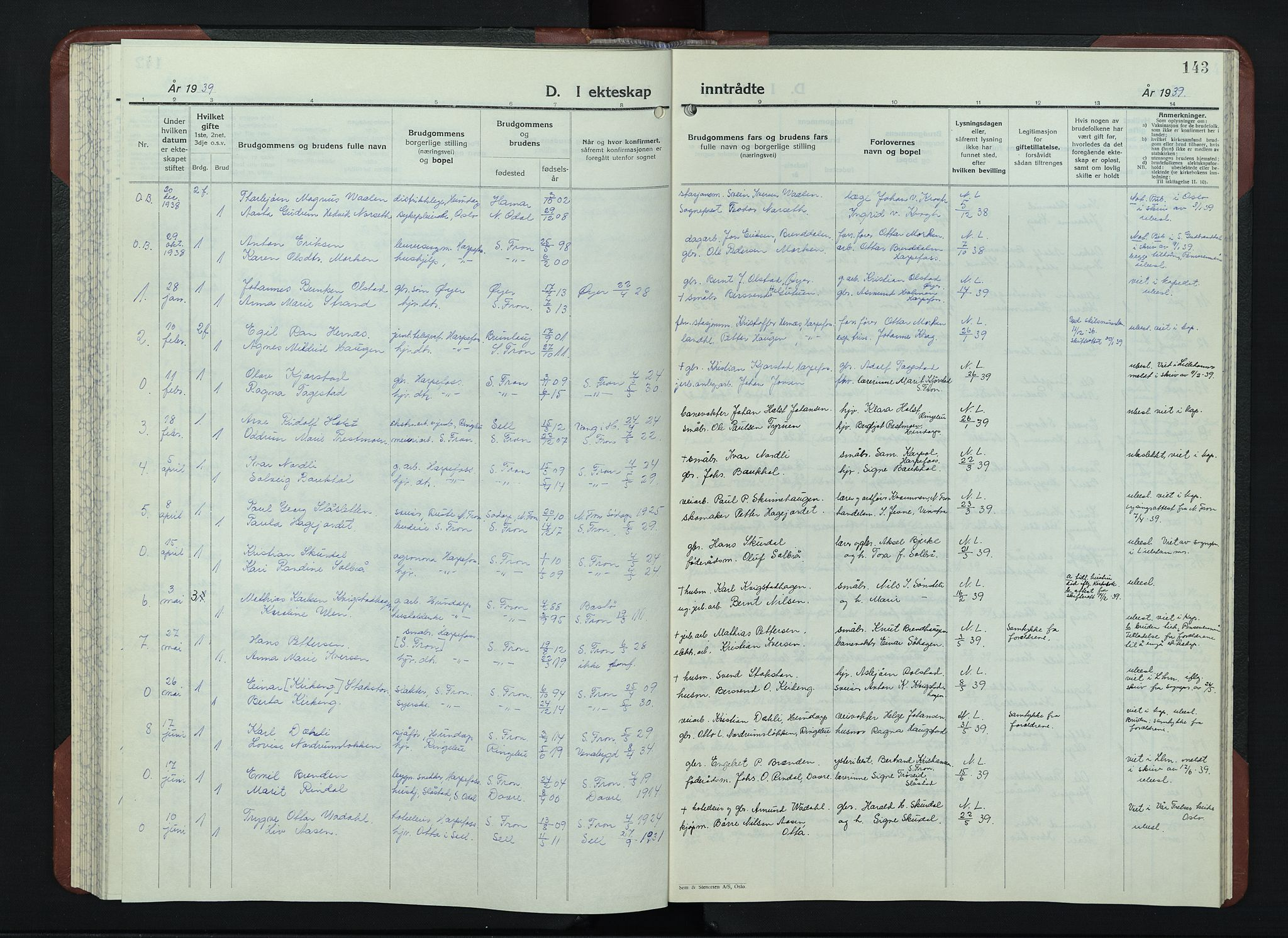 SAH, Sør-Fron prestekontor, H/Ha/Hab/L0006: Klokkerbok nr. 6, 1933-1948, s. 143