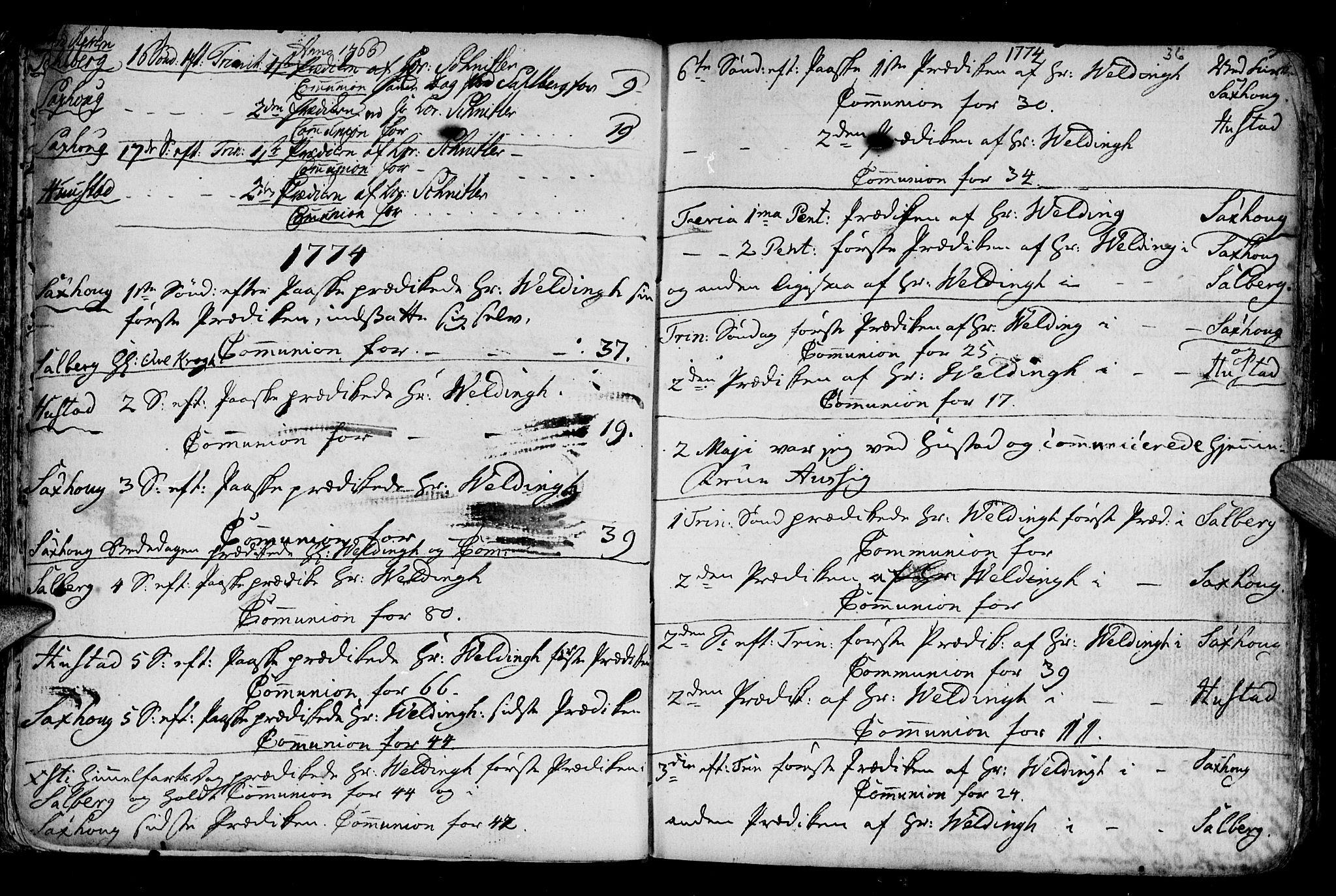 SAT, Ministerialprotokoller, klokkerbøker og fødselsregistre - Nord-Trøndelag, 730/L0273: Ministerialbok nr. 730A02, 1762-1802, s. 36