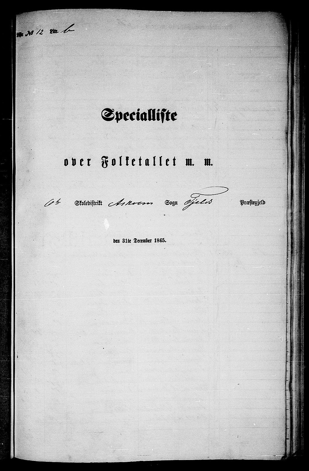 RA, Folketelling 1865 for 1246P Fjell prestegjeld, 1865, s. 200
