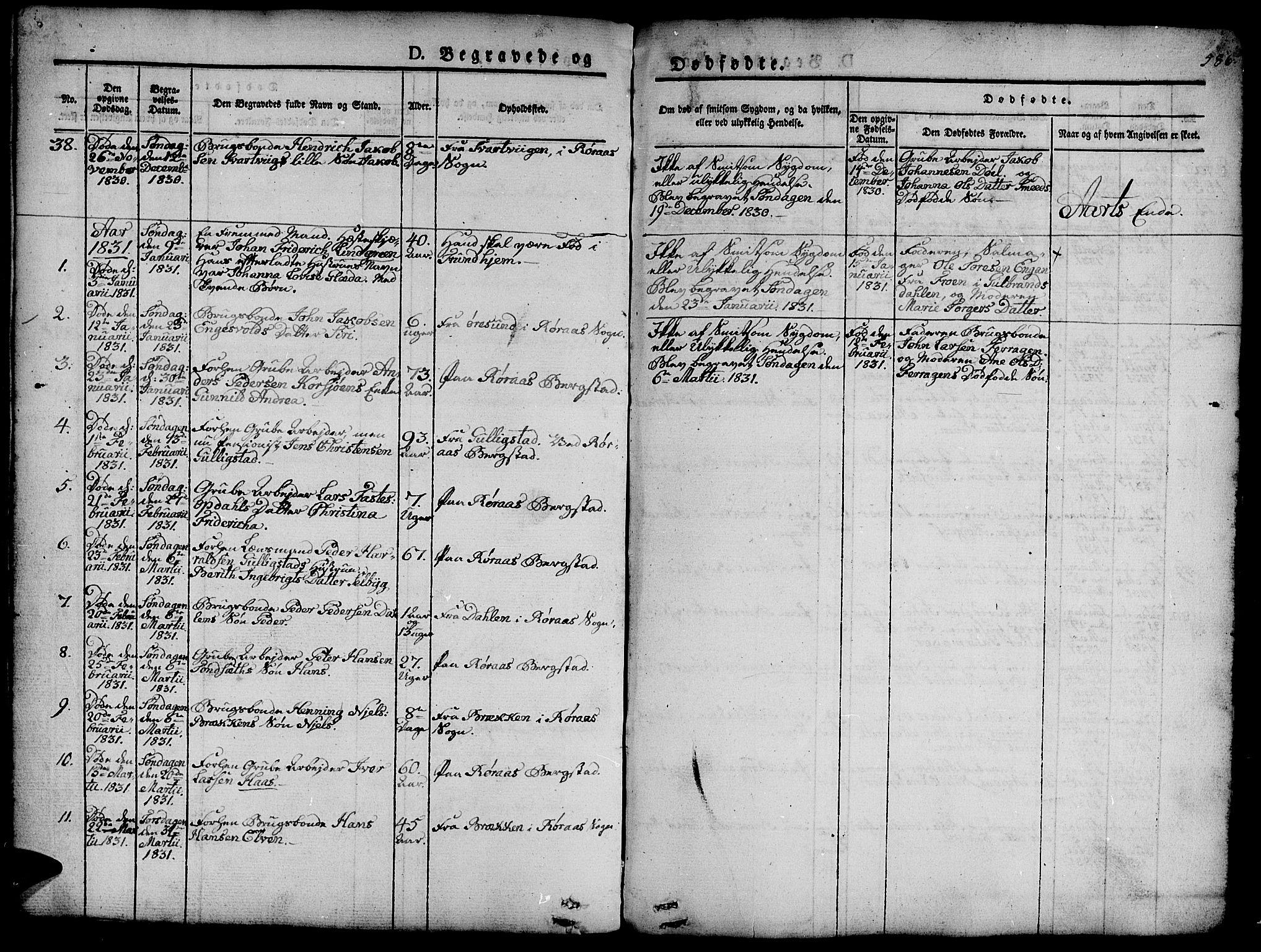 SAT, Ministerialprotokoller, klokkerbøker og fødselsregistre - Sør-Trøndelag, 681/L0939: Klokkerbok nr. 681C03, 1829-1855, s. 586