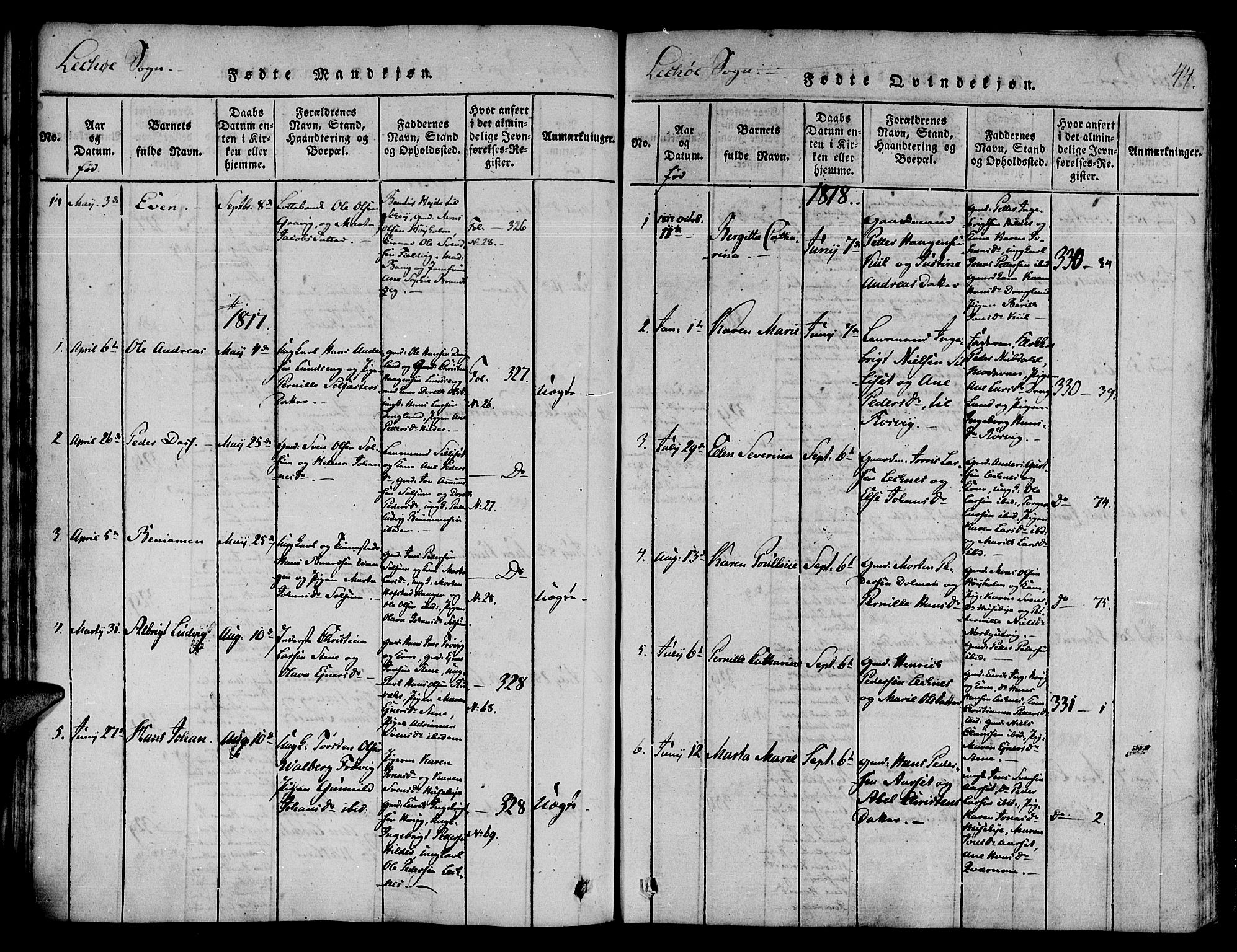 SAT, Ministerialprotokoller, klokkerbøker og fødselsregistre - Nord-Trøndelag, 780/L0636: Ministerialbok nr. 780A03 /2, 1815-1829, s. 44