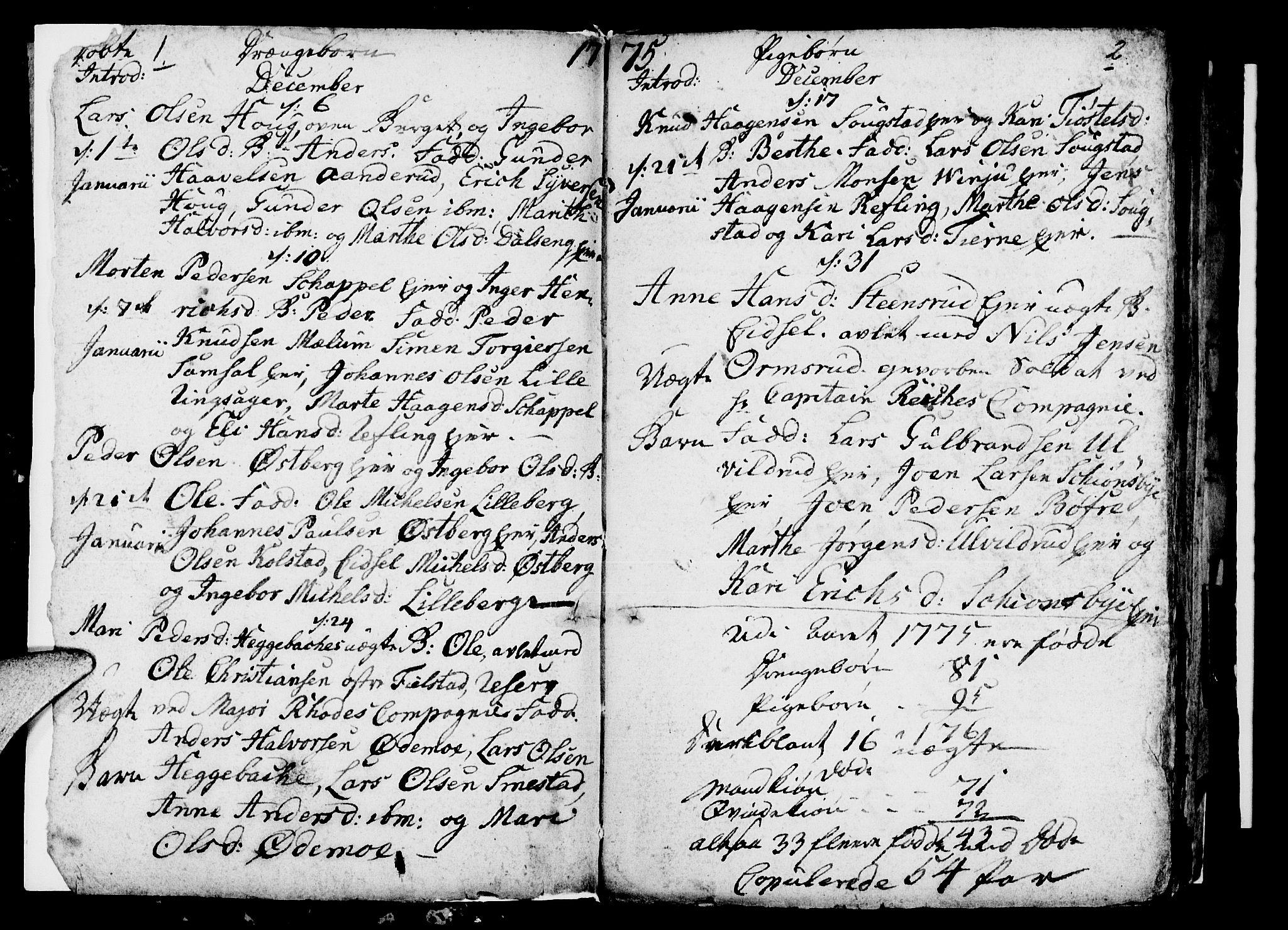 SAH, Ringsaker prestekontor, I/Ia/L0005/0002: Kladd til kirkebok nr. 1B, 1775-1779, s. 1-2