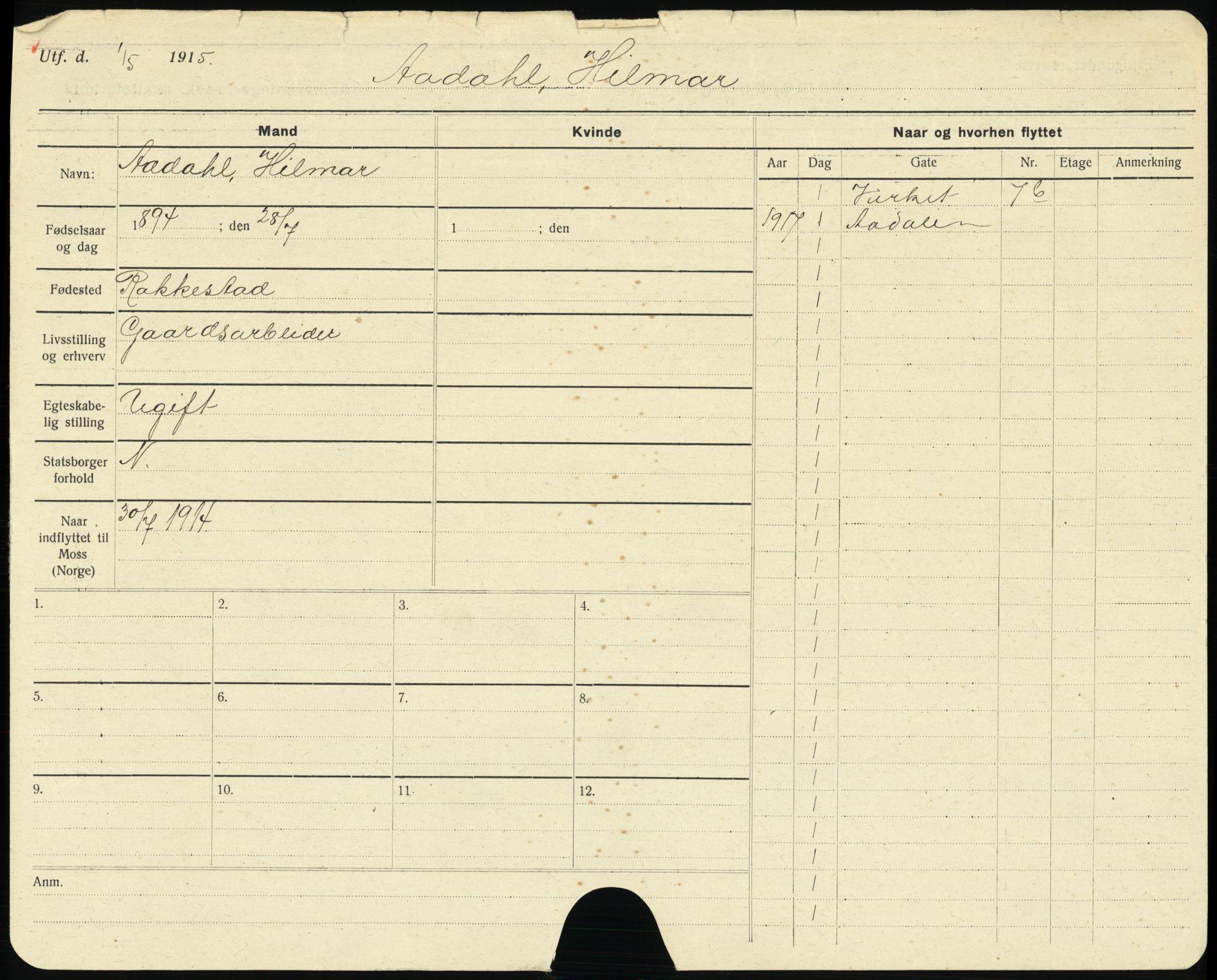 SAO, Moss folkeregister, F/L0003: Utflyttede, 1917-1918