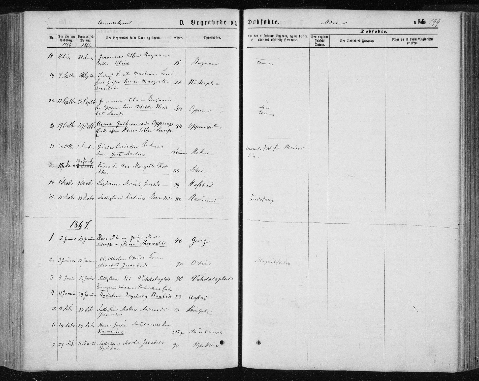 SAT, Ministerialprotokoller, klokkerbøker og fødselsregistre - Nord-Trøndelag, 735/L0345: Ministerialbok nr. 735A08 /1, 1863-1872, s. 299