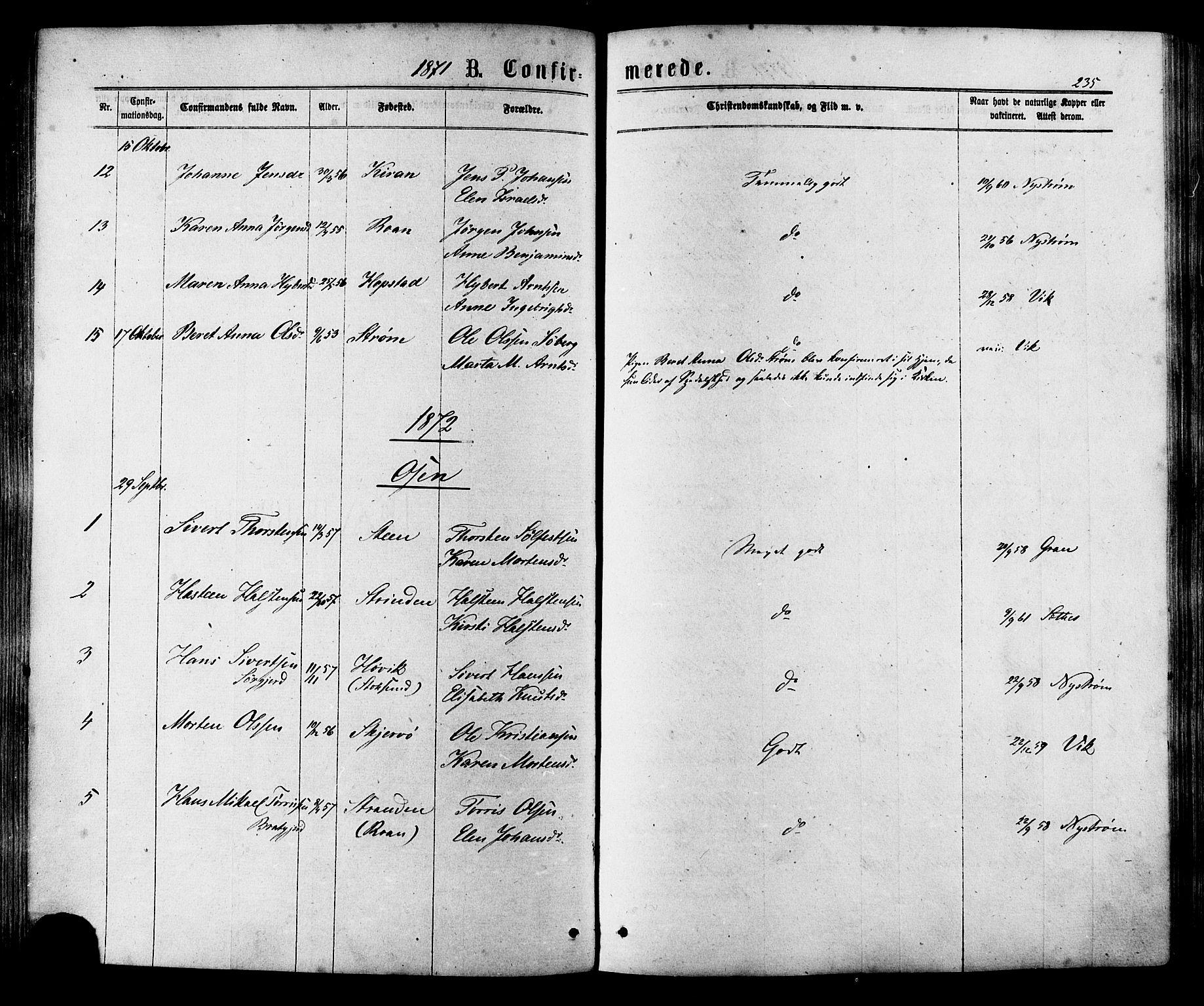 SAT, Ministerialprotokoller, klokkerbøker og fødselsregistre - Sør-Trøndelag, 657/L0706: Ministerialbok nr. 657A07, 1867-1878, s. 235