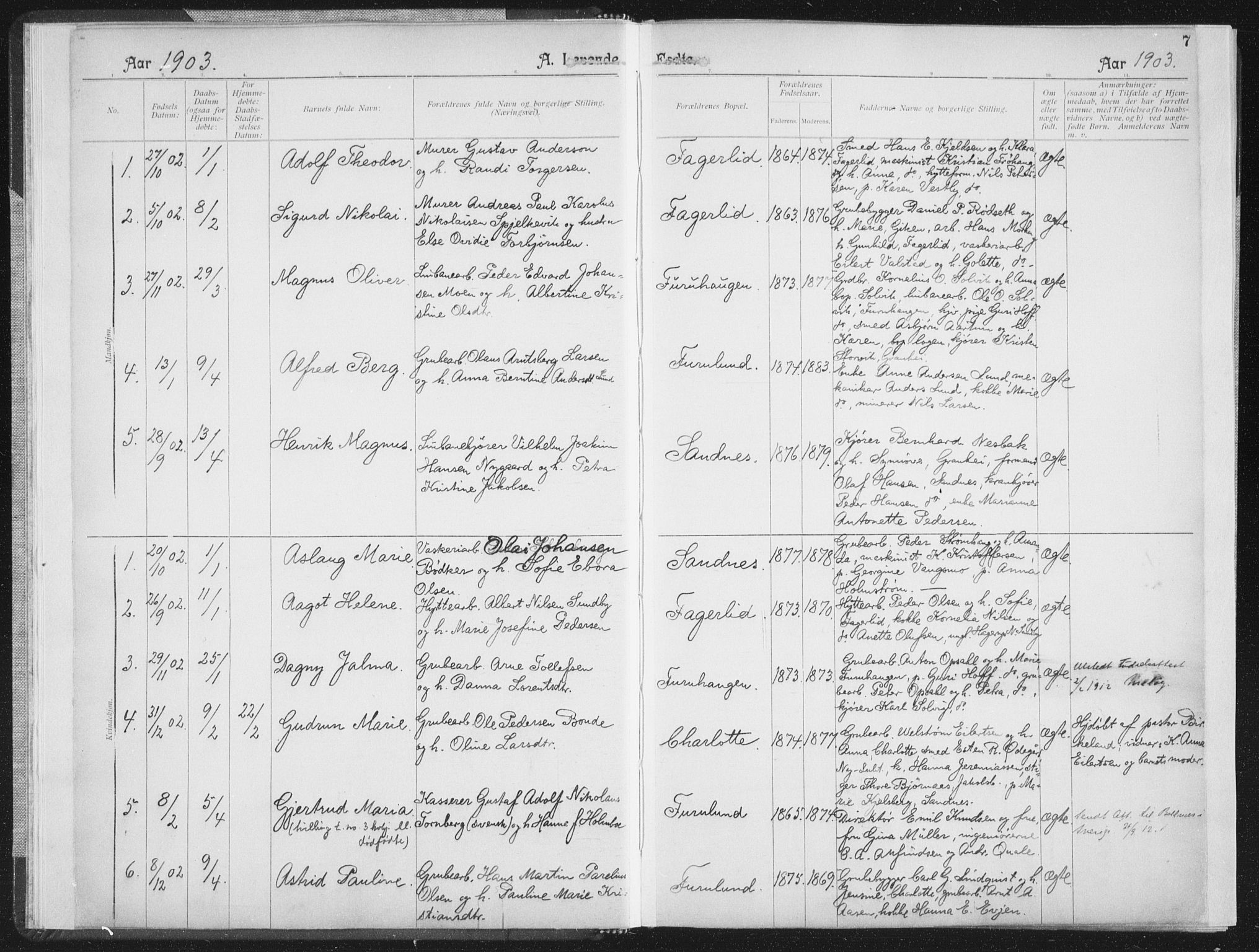 SAT, Ministerialprotokoller, klokkerbøker og fødselsregistre - Nordland, 850/L0711: Residerende kapellans bok nr. 850B01, 1902-1915, s. 7