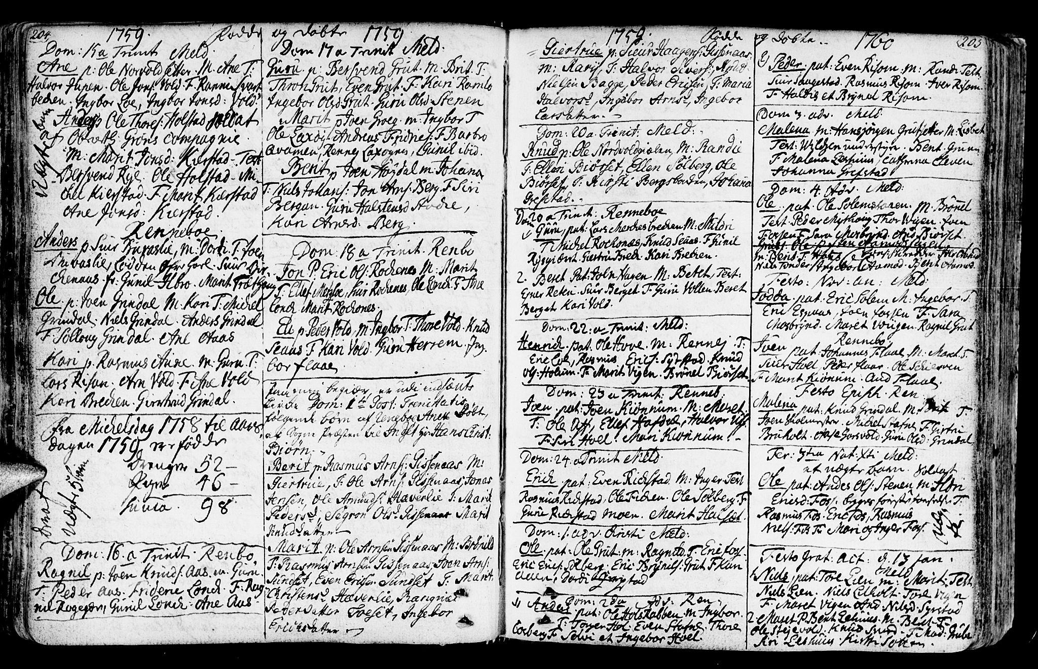 SAT, Ministerialprotokoller, klokkerbøker og fødselsregistre - Sør-Trøndelag, 672/L0851: Ministerialbok nr. 672A04, 1751-1775, s. 204-205