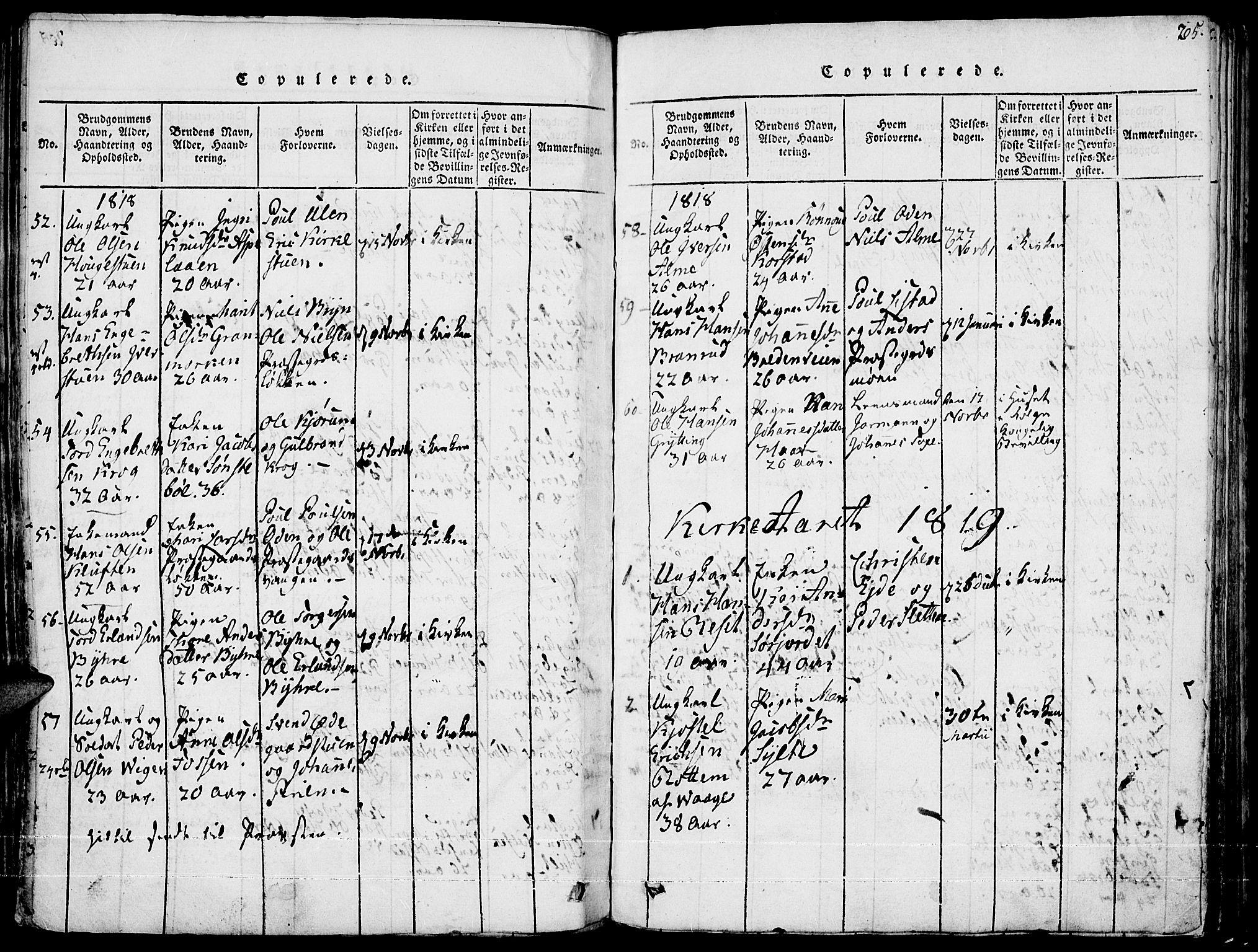 SAH, Fron prestekontor, H/Ha/Haa/L0002: Ministerialbok nr. 2, 1816-1827, s. 205