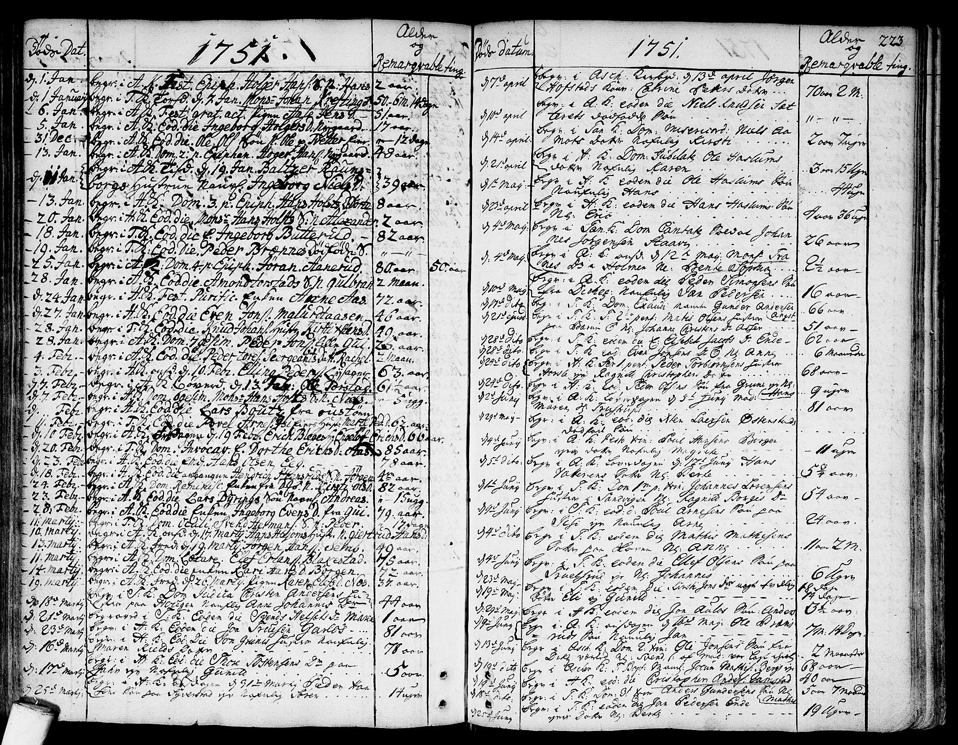 SAO, Asker prestekontor Kirkebøker, F/Fa/L0002: Ministerialbok nr. I 2, 1733-1766, s. 223
