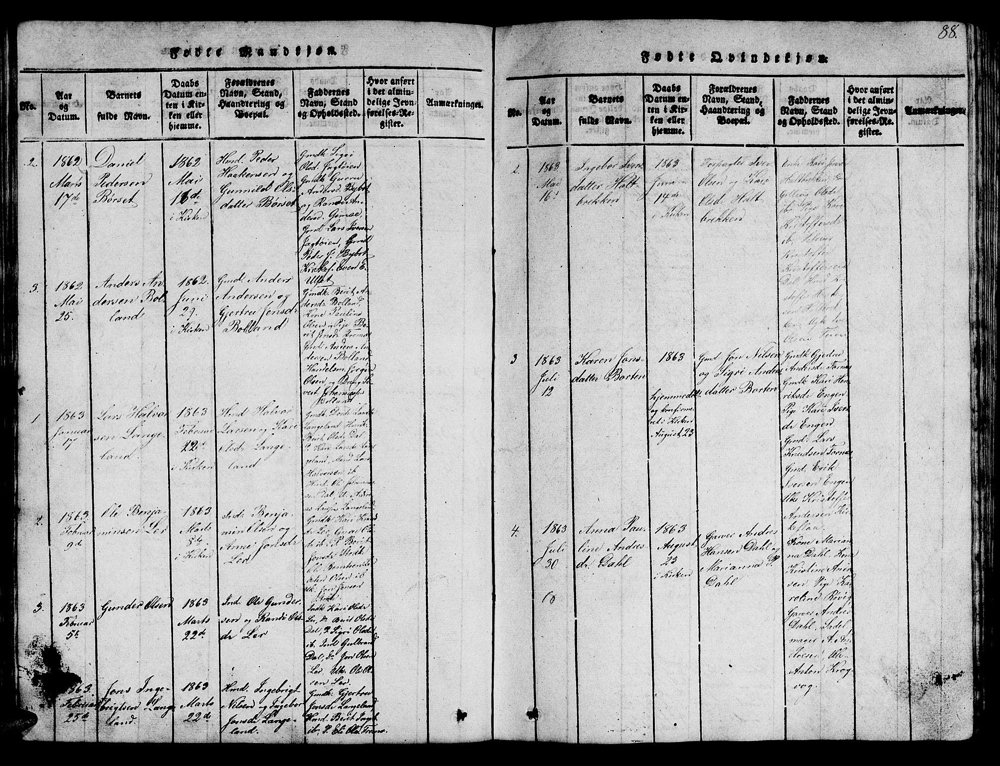 SAT, Ministerialprotokoller, klokkerbøker og fødselsregistre - Sør-Trøndelag, 693/L1121: Klokkerbok nr. 693C02, 1816-1869, s. 88