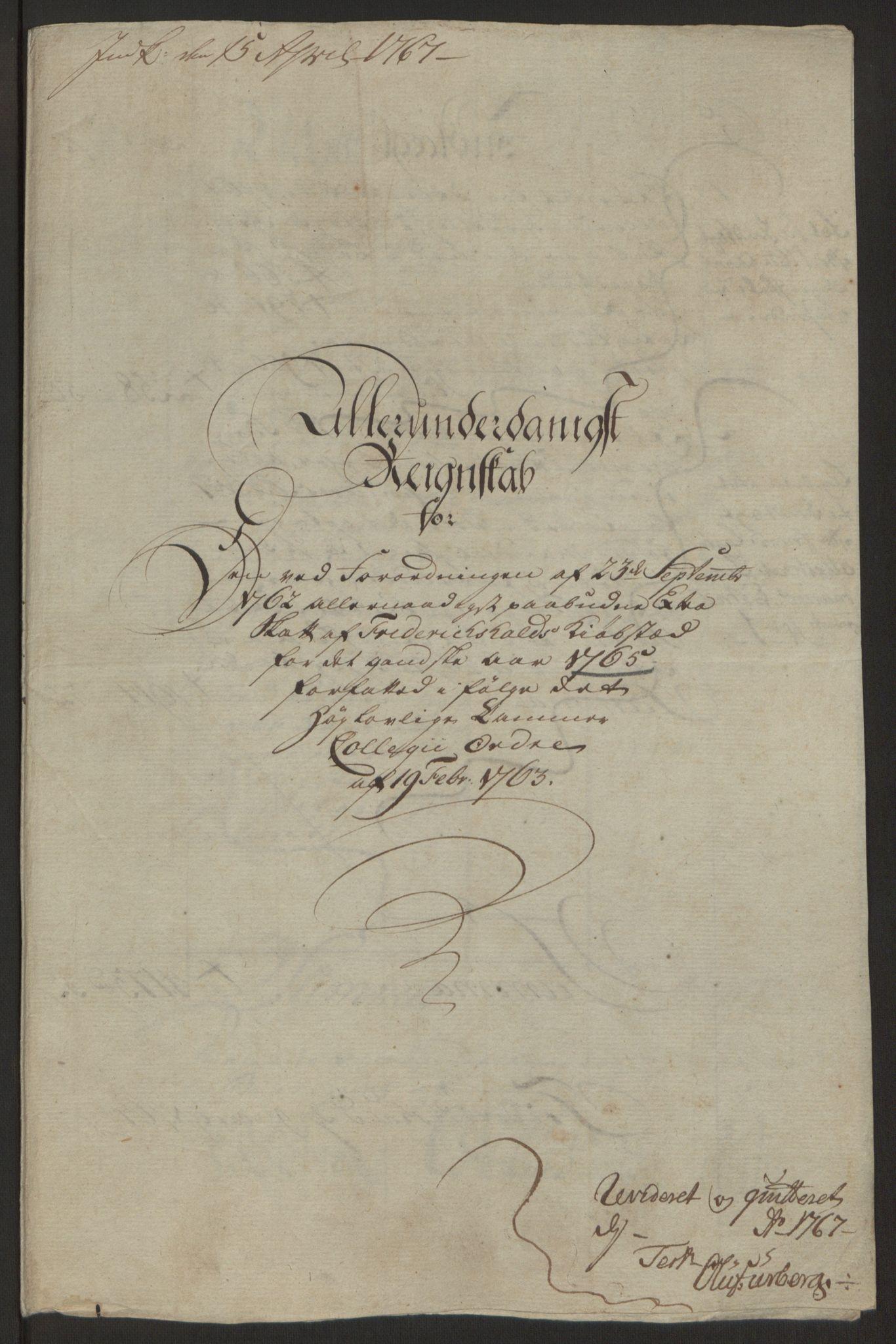 RA, Rentekammeret inntil 1814, Reviderte regnskaper, Byregnskaper, R/Ra/L0006: [A4] Kontribusjonsregnskap, 1762-1772, s. 119