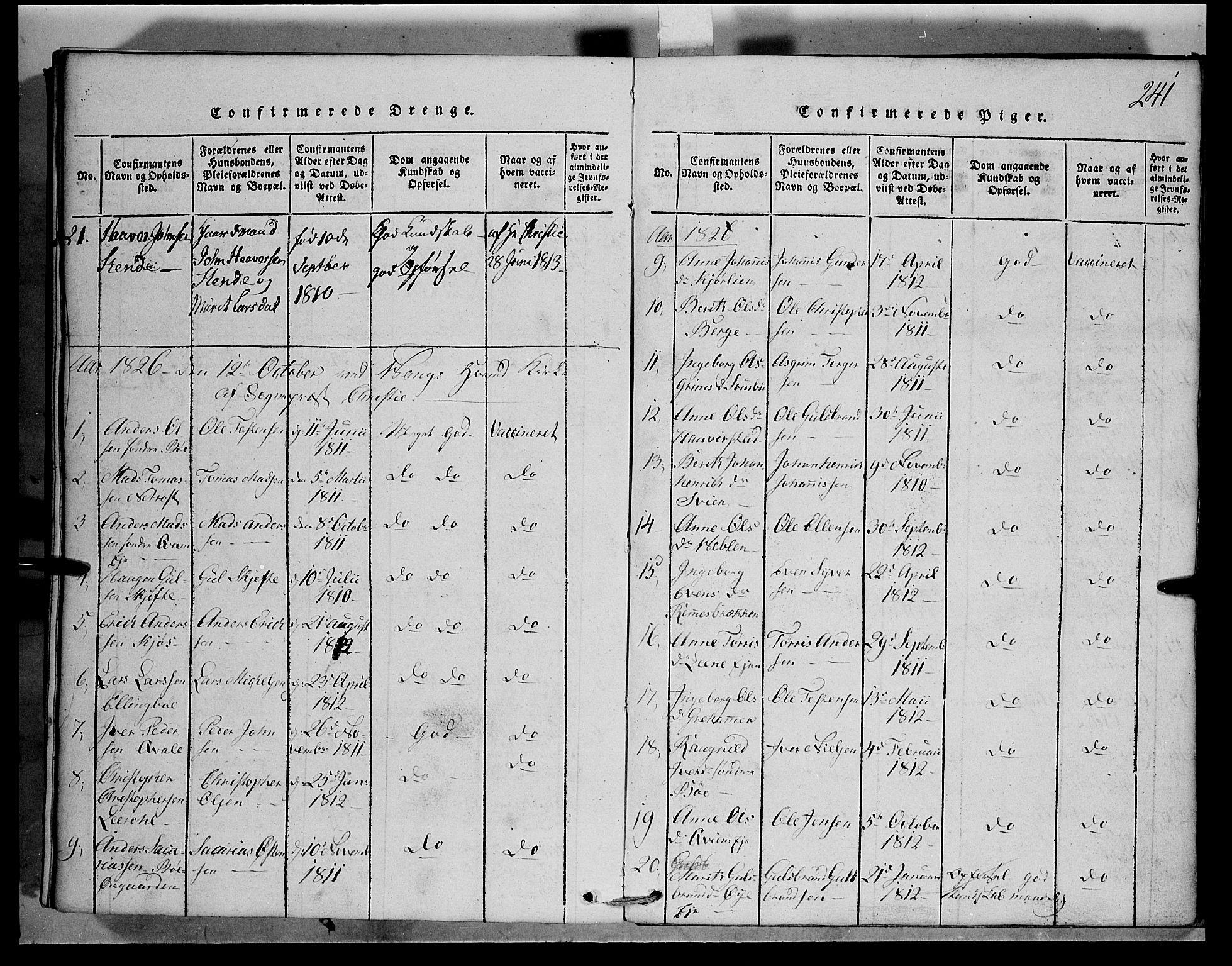SAH, Vang prestekontor, Valdres, Klokkerbok nr. 1, 1814-1820, s. 241