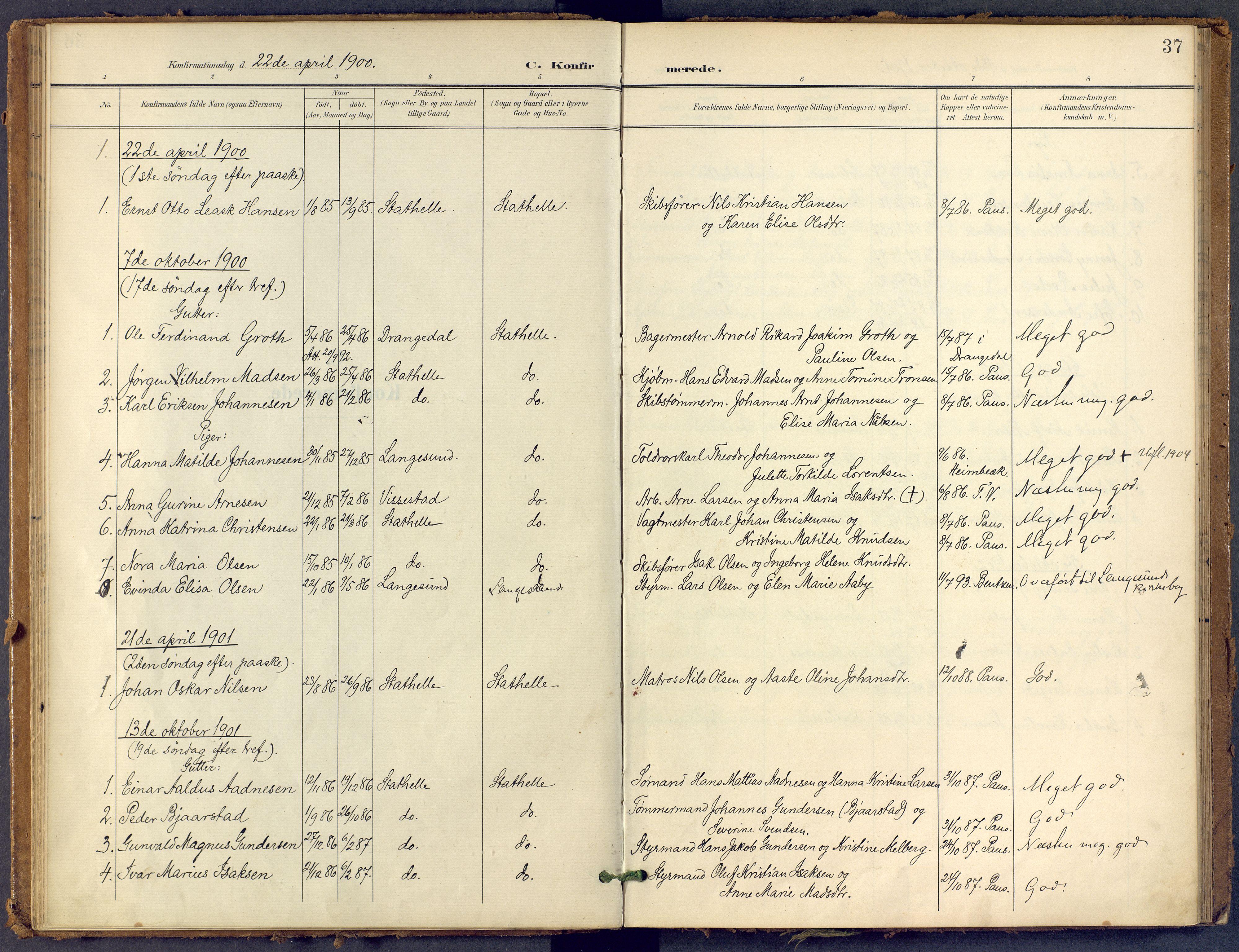 SAKO, Bamble kirkebøker, F/Fb/L0002: Ministerialbok nr. II 2, 1900-1921, s. 37