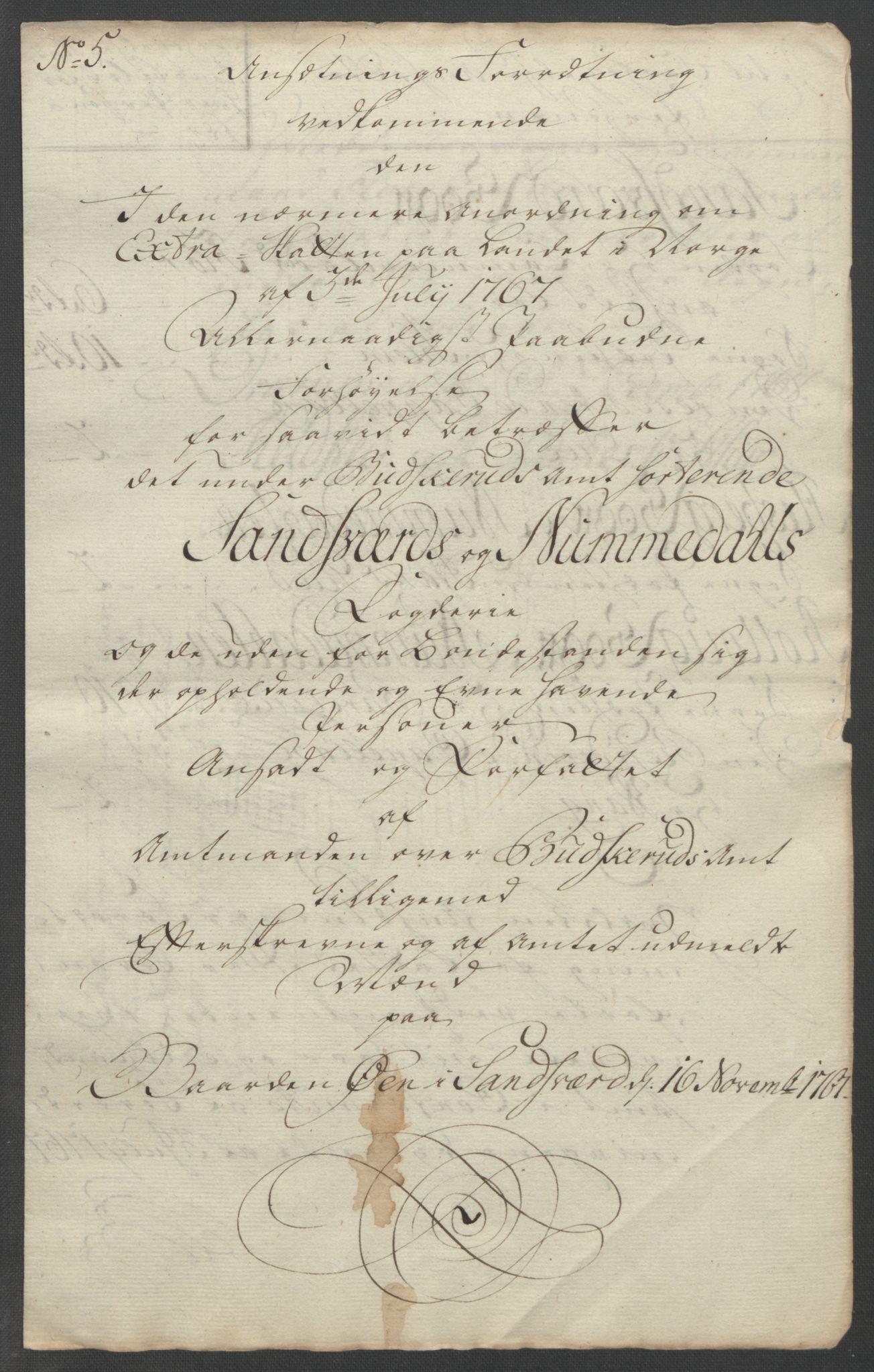 RA, Rentekammeret inntil 1814, Reviderte regnskaper, Fogderegnskap, R24/L1672: Ekstraskatten Numedal og Sandsvær, 1762-1767, s. 345