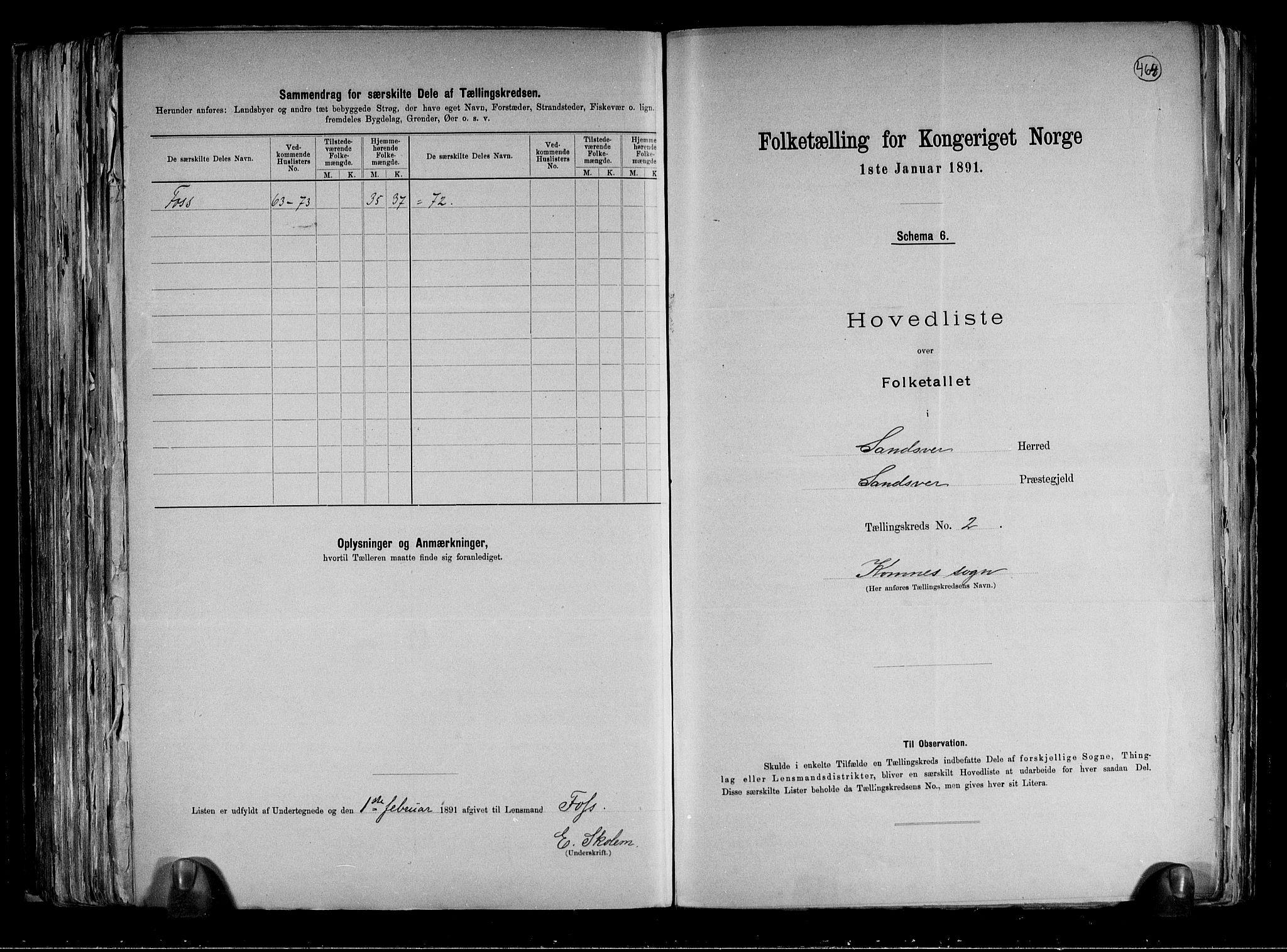 RA, Folketelling 1891 for 0629 Sandsvær herred, 1891, s. 7