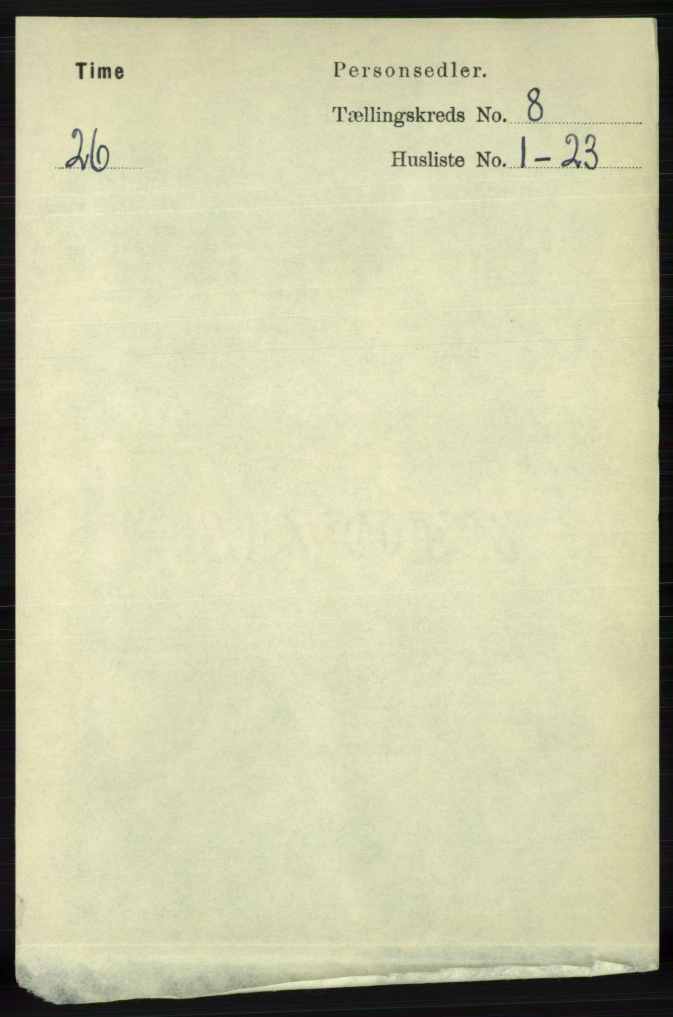 RA, Folketelling 1891 for 1121 Time herred, 1891, s. 2968