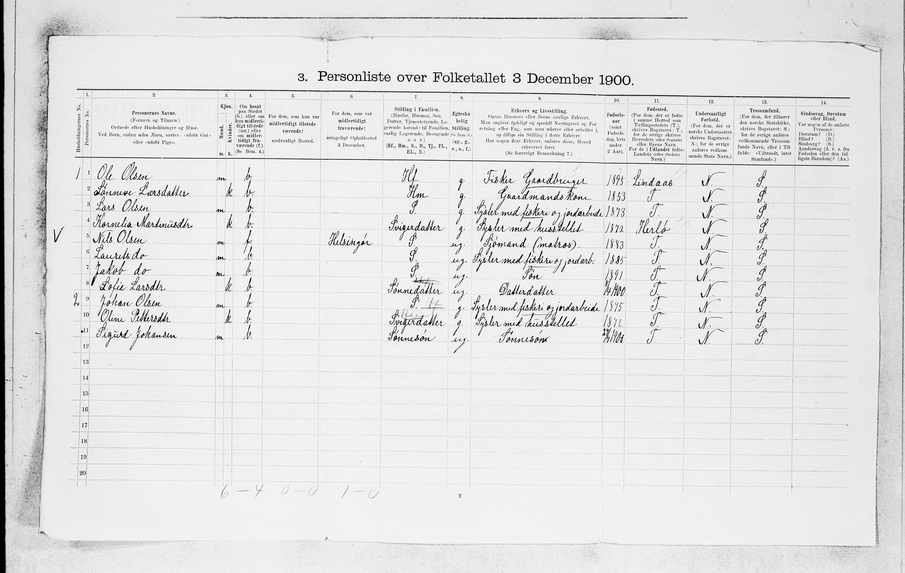 SAB, Folketelling 1900 for 1261 Manger herred, 1900, s. 1762