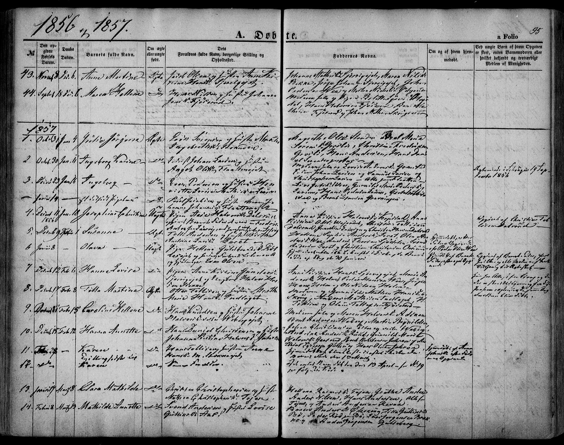 SAKO, Sande Kirkebøker, F/Fa/L0004: Ministerialbok nr. 4, 1847-1864, s. 95