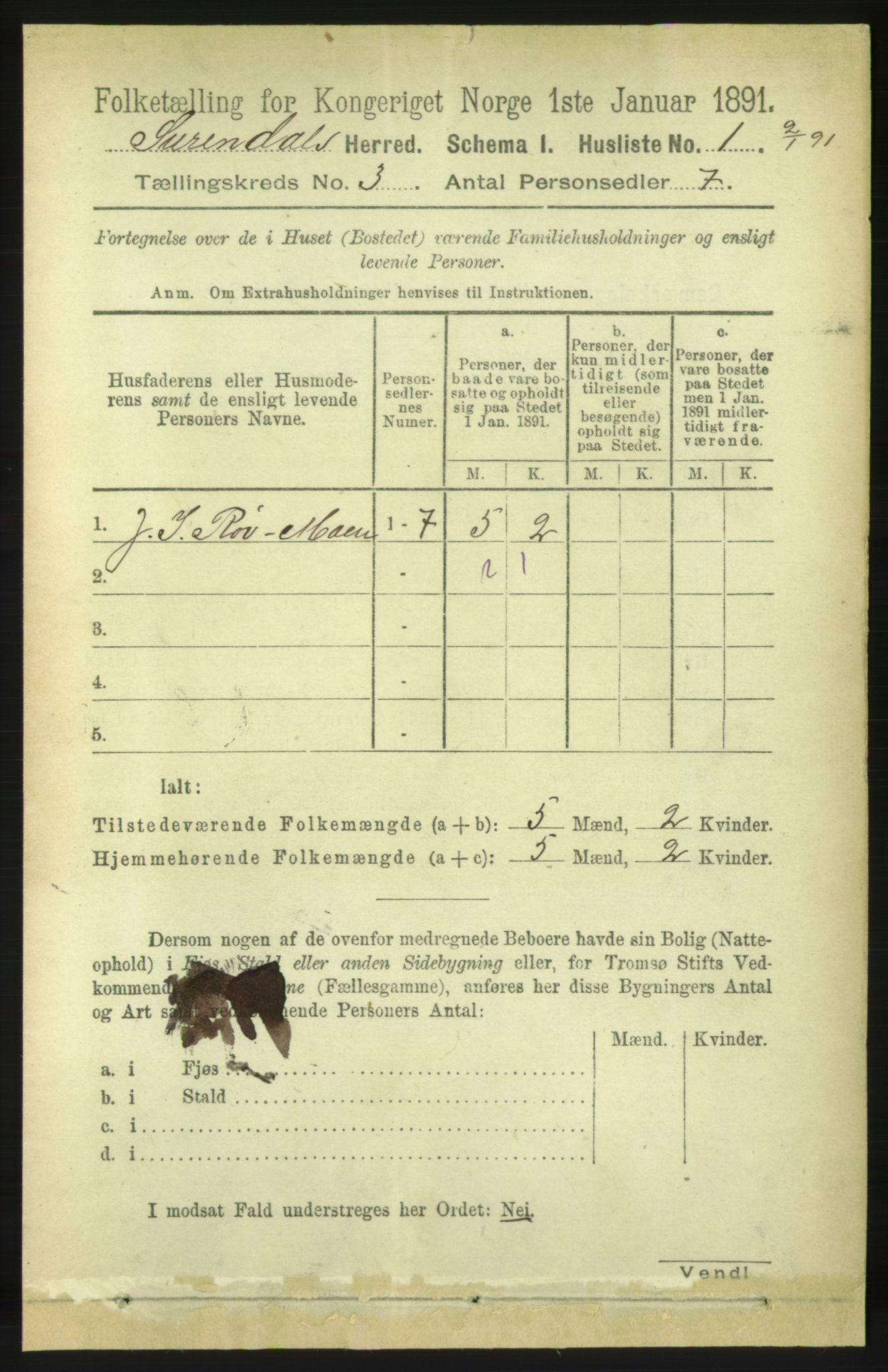 RA, Folketelling 1891 for 1566 Surnadal herred, 1891, s. 745