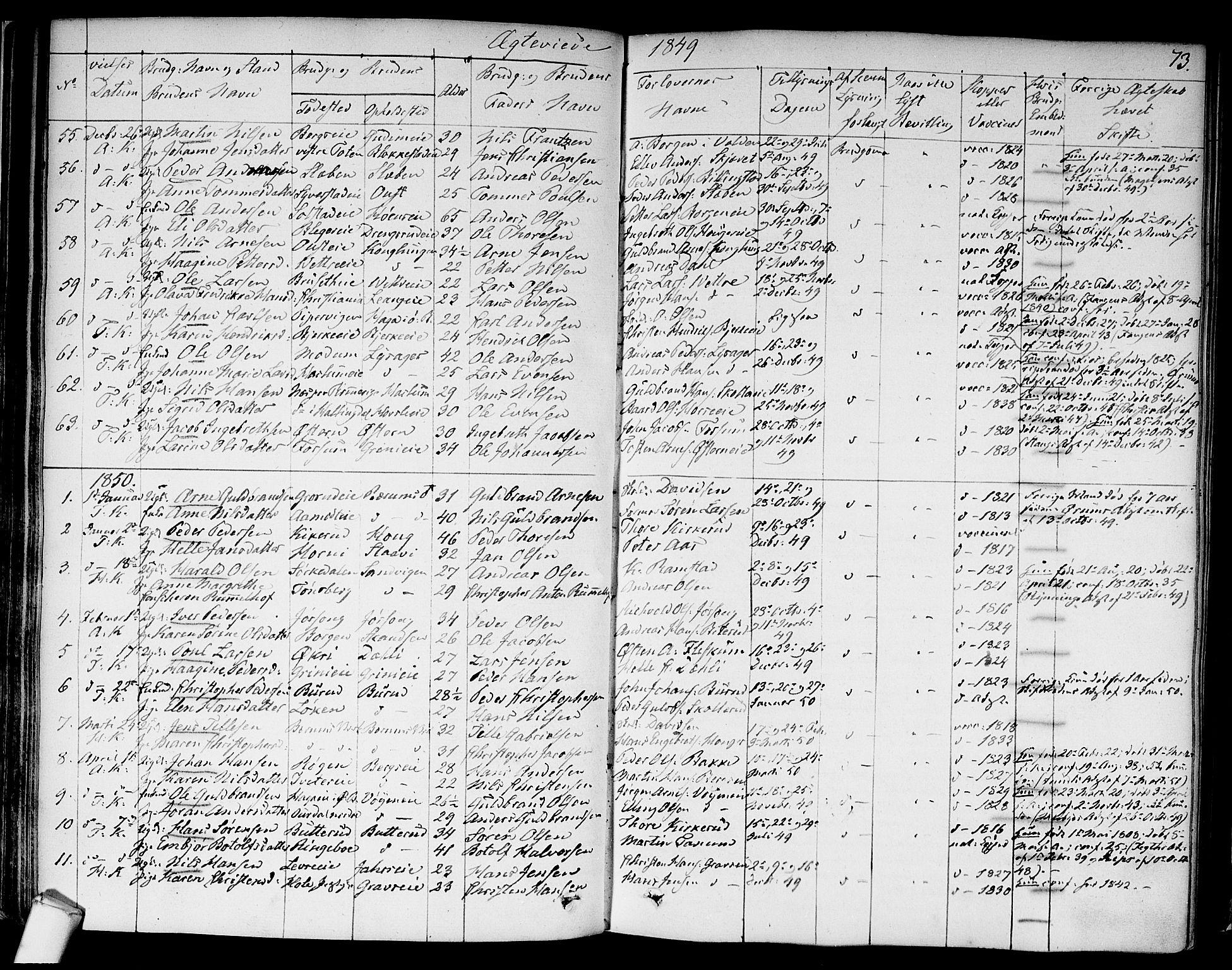 SAO, Asker prestekontor Kirkebøker, F/Fa/L0010: Ministerialbok nr. I 10, 1825-1878, s. 73