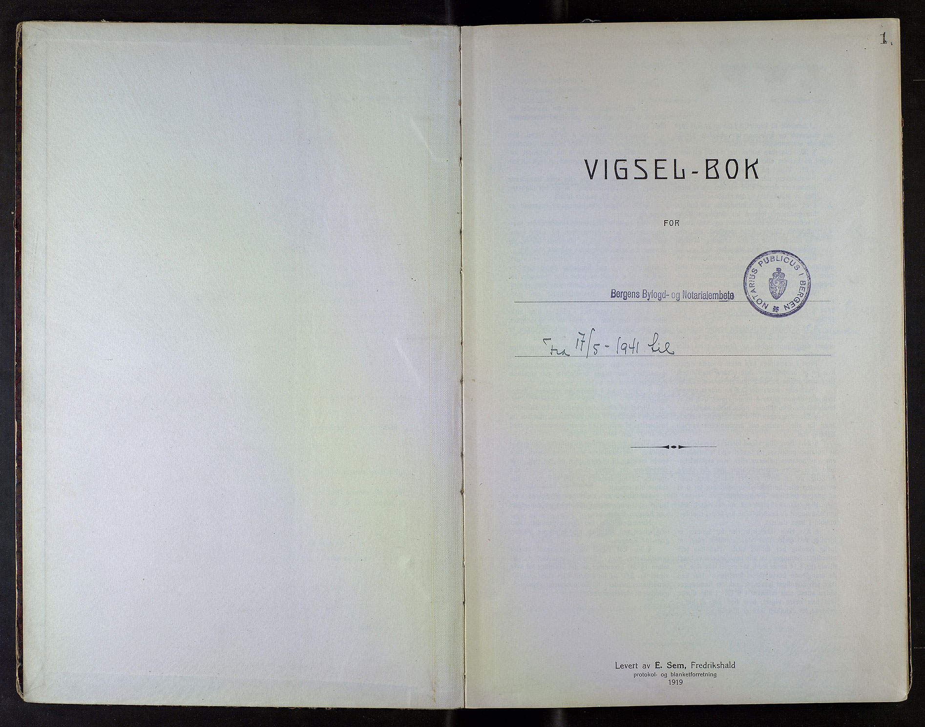 SAB, Bergen byfogd og byskriver*, 1941, s. 1a