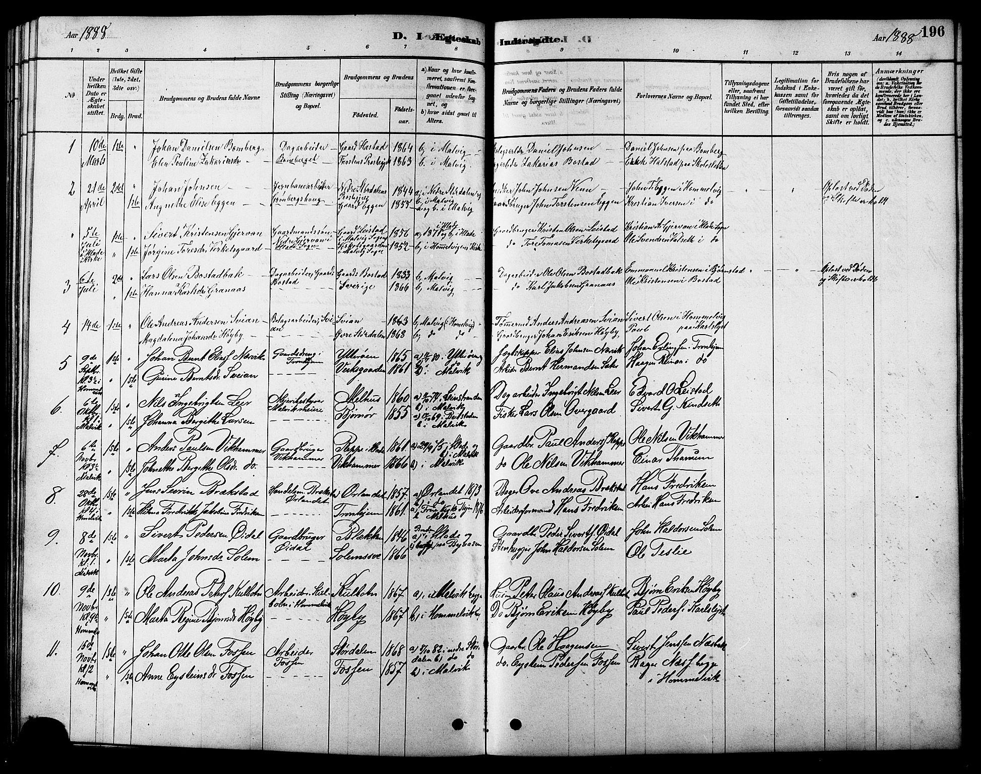 SAT, Ministerialprotokoller, klokkerbøker og fødselsregistre - Sør-Trøndelag, 616/L0423: Klokkerbok nr. 616C06, 1878-1903, s. 196